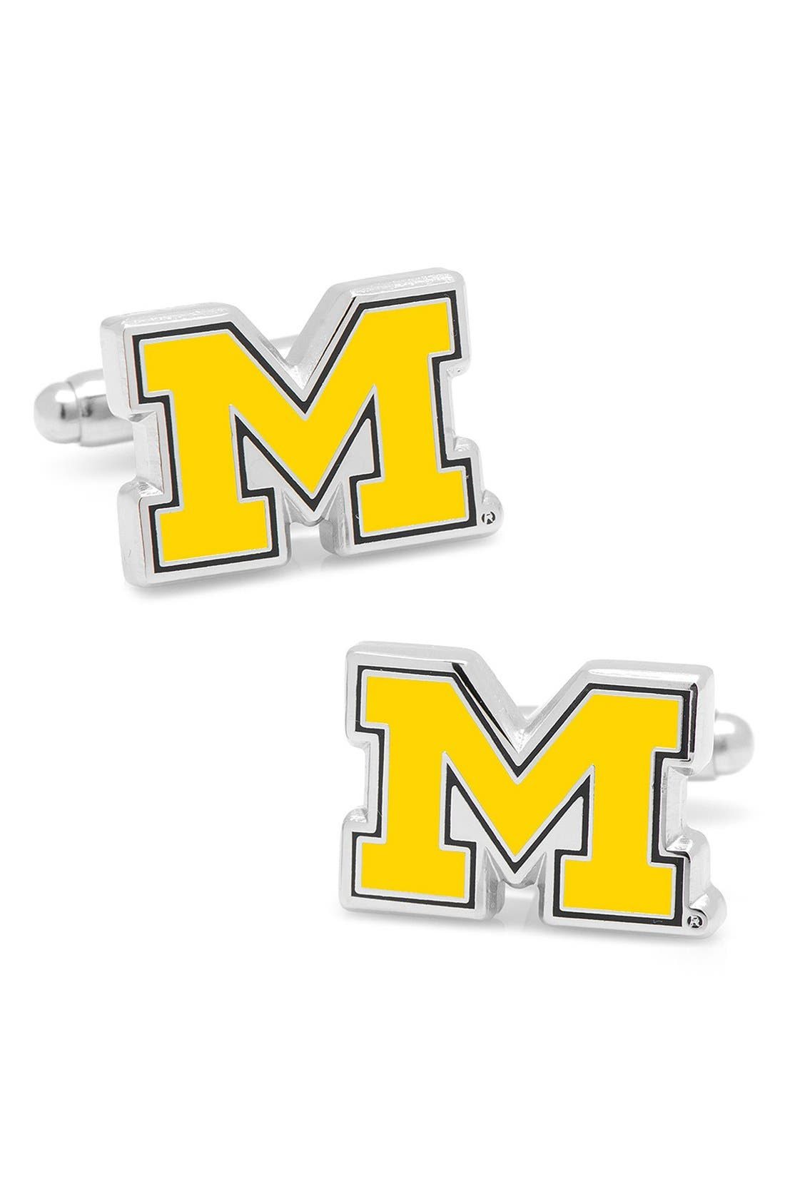'Michigan Wolverines' Cuff Links,                             Main thumbnail 1, color,                             SILVER