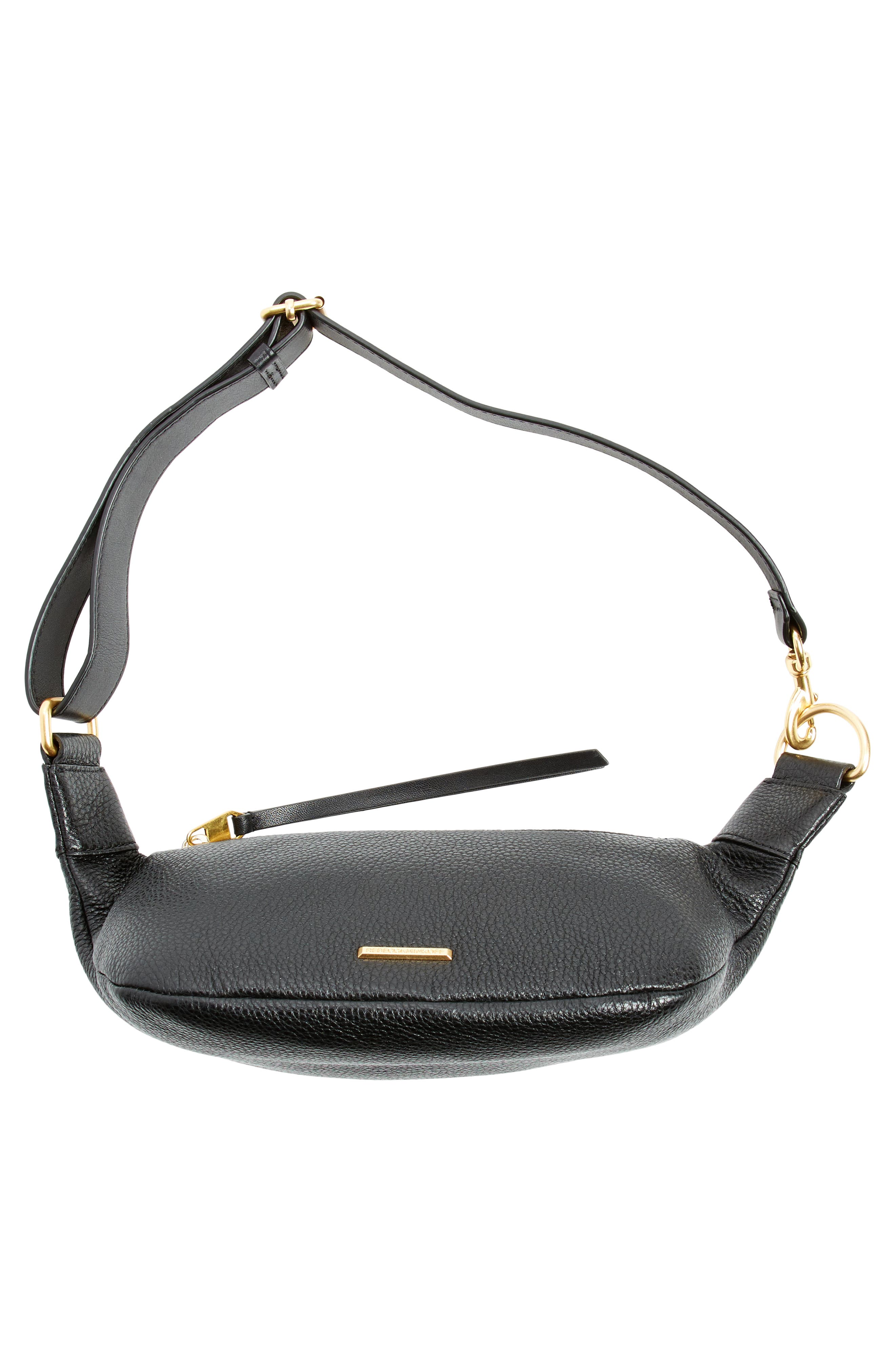 Bree Leather Belt Bag,                             Alternate thumbnail 6, color,                             BLACK