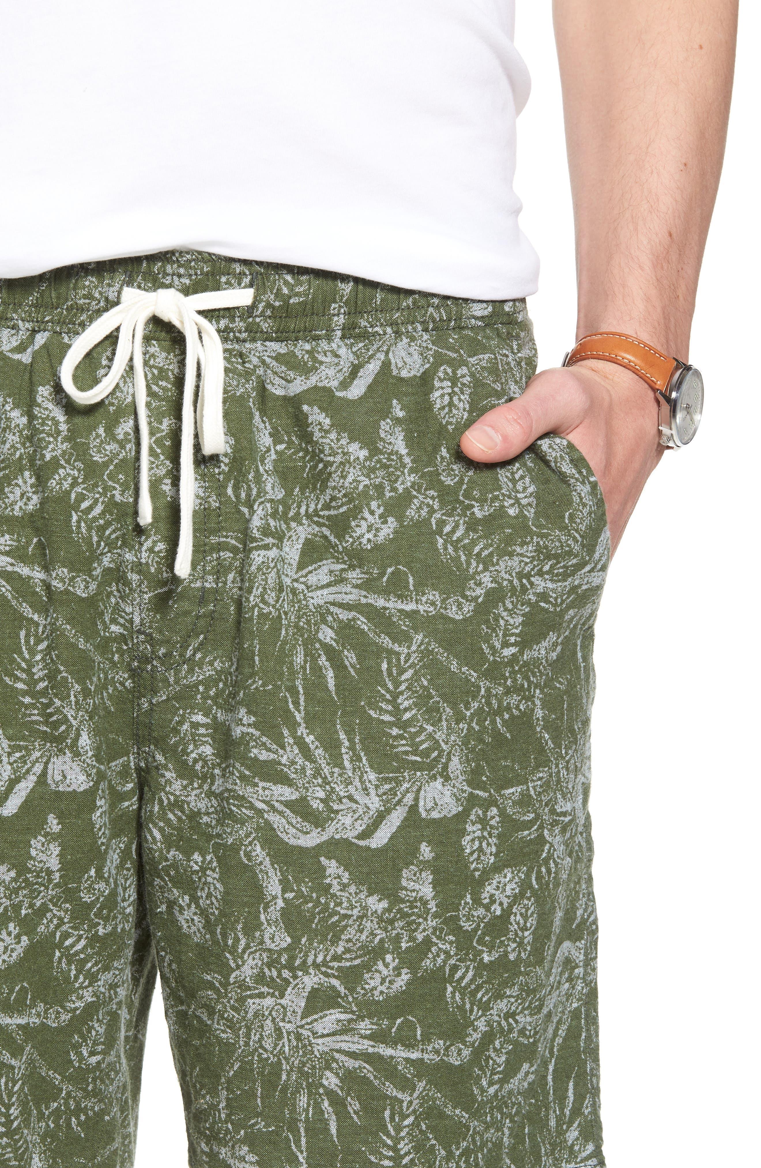 E-Waist Print Linen Blend Shorts,                             Alternate thumbnail 4, color,                             310