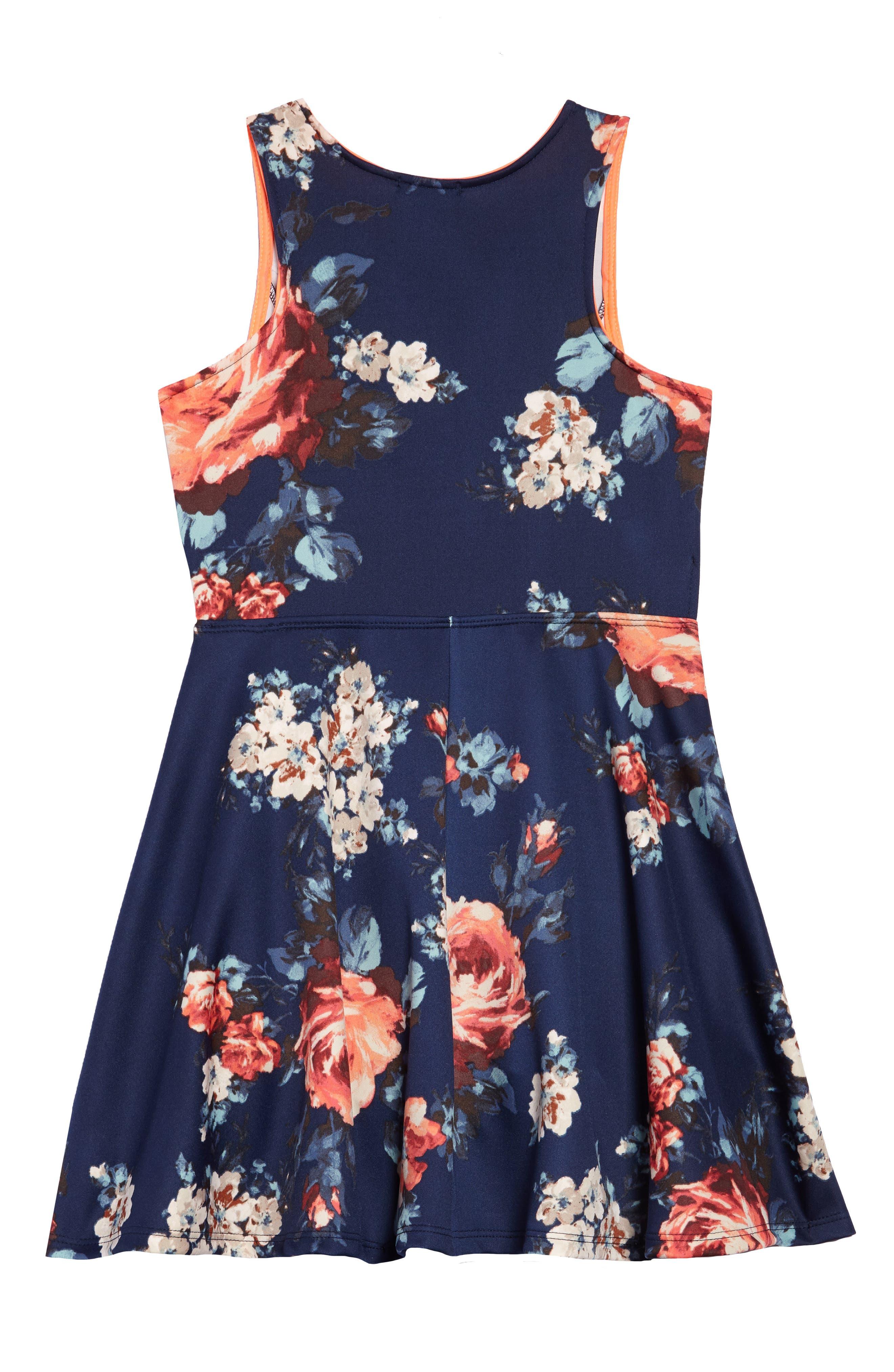 Floral Scuba Dress,                             Alternate thumbnail 2, color,                             410