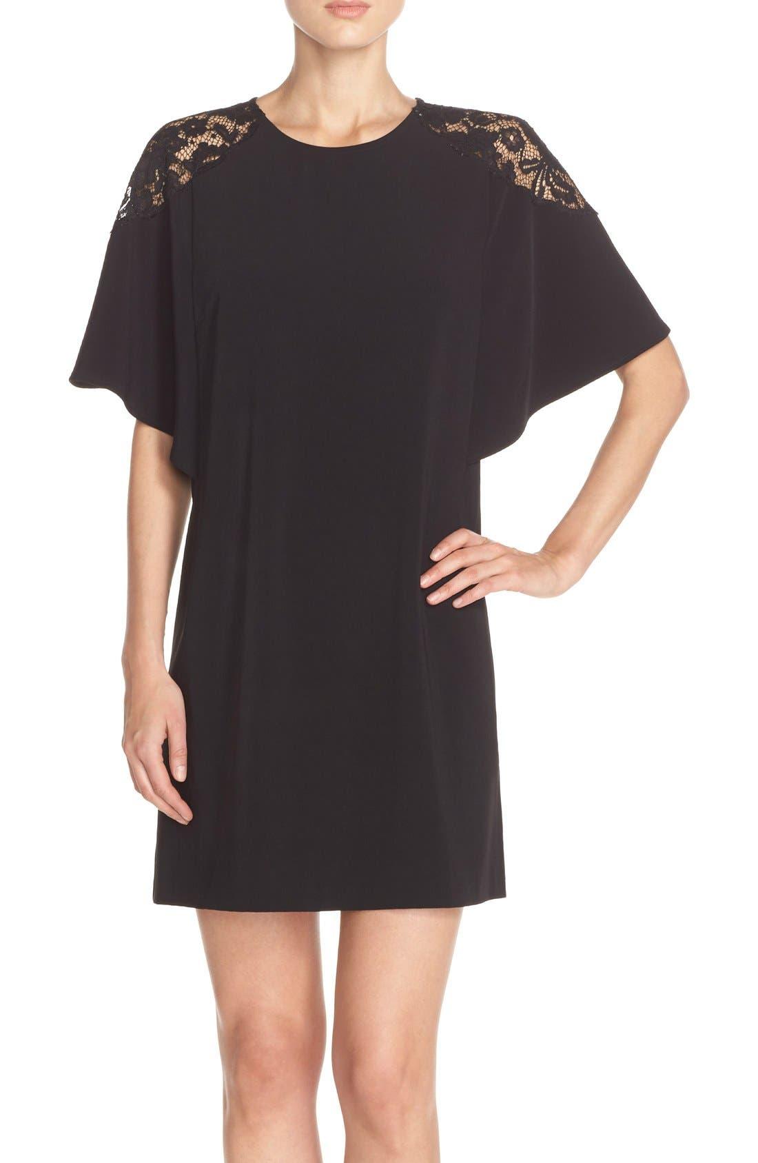 Lace Shoulder Crepe A-Line Dress,                             Main thumbnail 1, color,                             005
