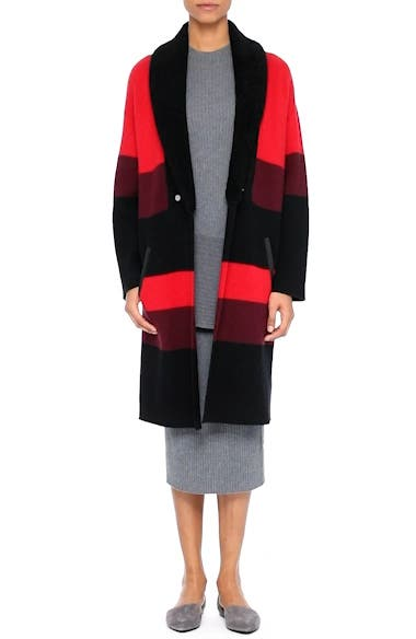 Double Knit Felted Wool Blend Coat with Genuine Shearling Collar, video thumbnail