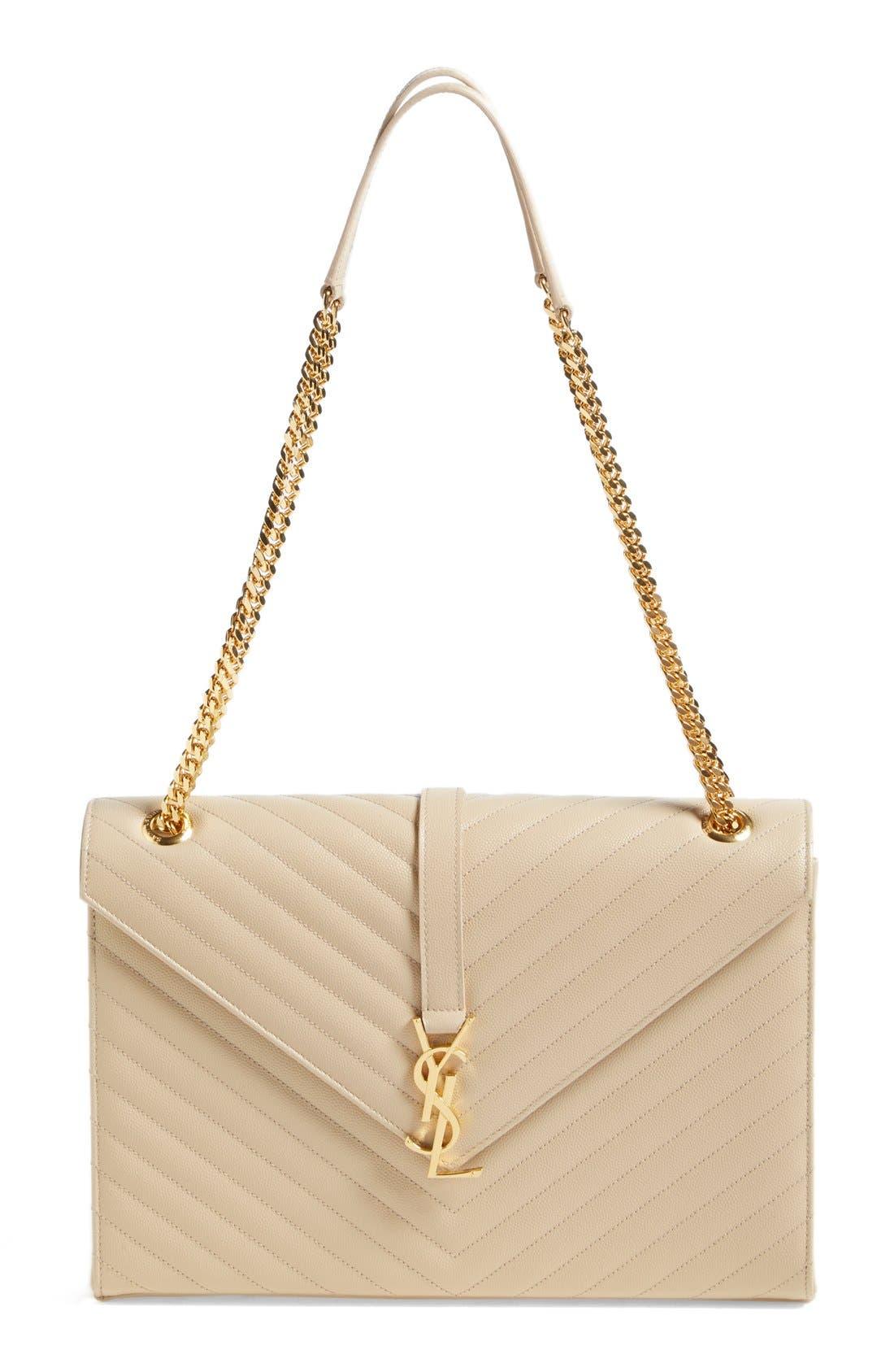 SAINT LAURENT 'Large Monogram' Grained Leather Shoulder Bag, Main, color, POUDRE