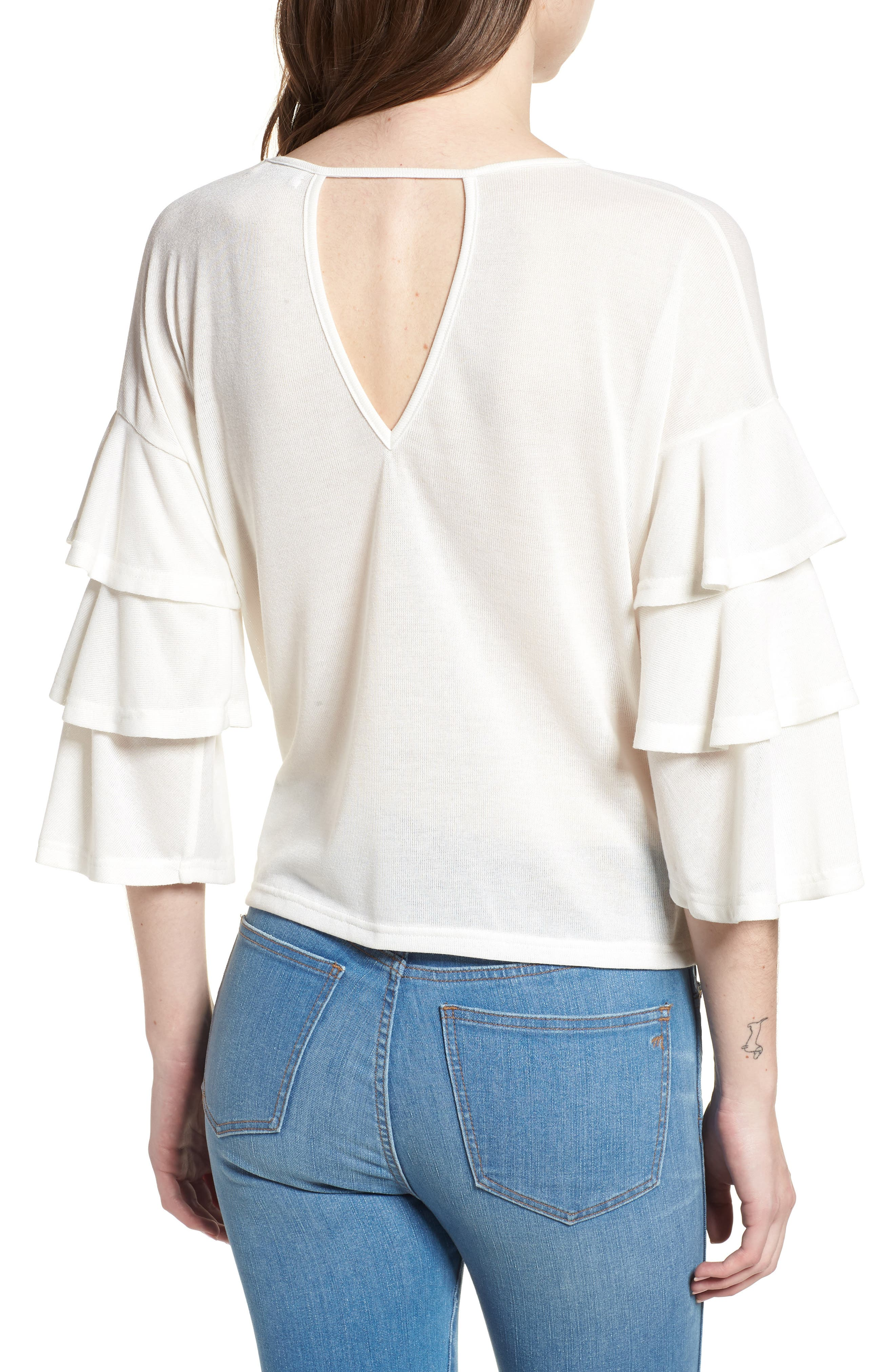Bishop + Young Katie Tiered Ruffle Sleeve Top,                             Alternate thumbnail 2, color,                             WHITE