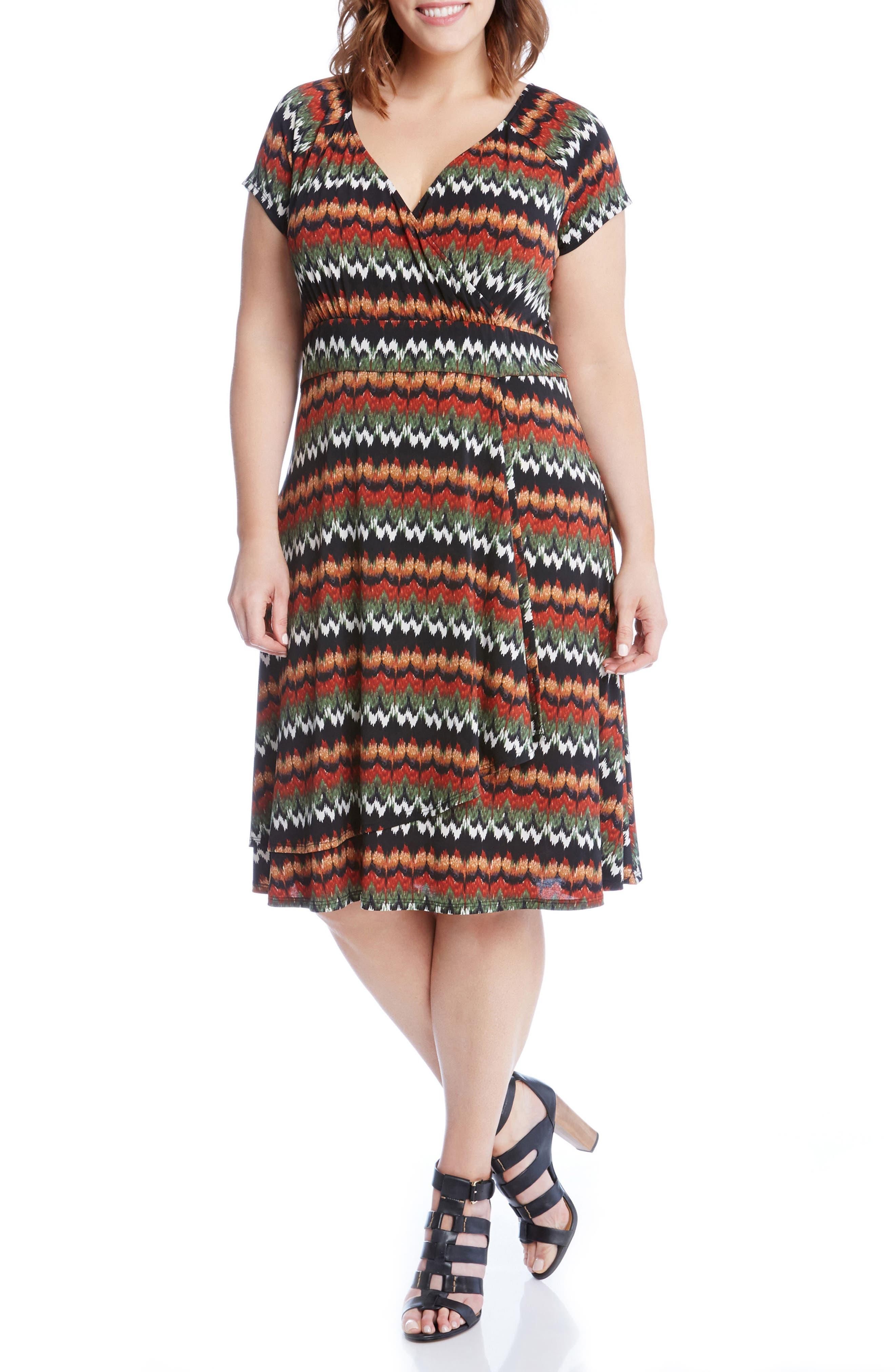 Print Cascade Drape Dress,                             Alternate thumbnail 3, color,