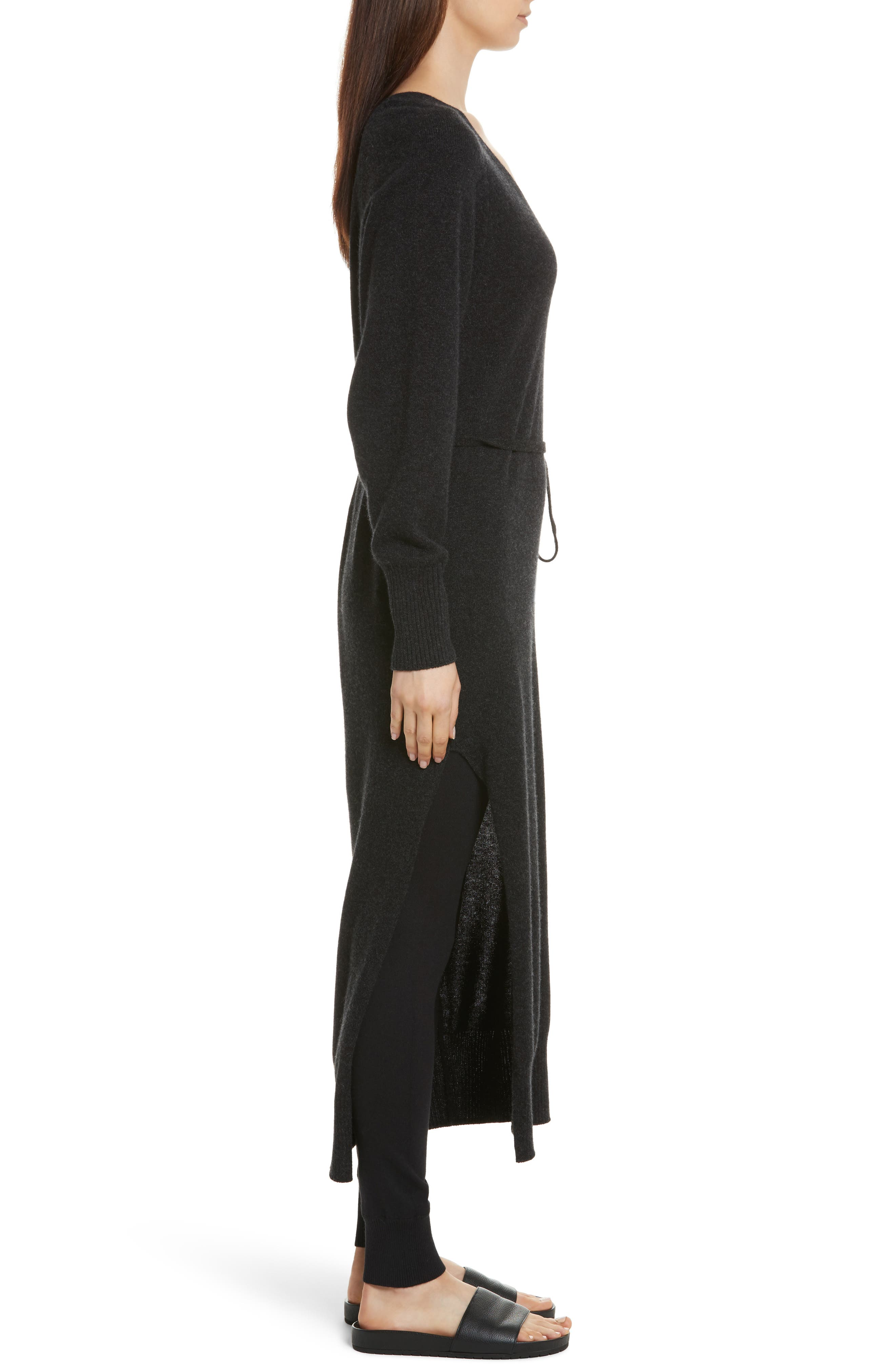 Wool & Cashmere Side Slit Maxi Dress,                             Alternate thumbnail 3, color,                             064