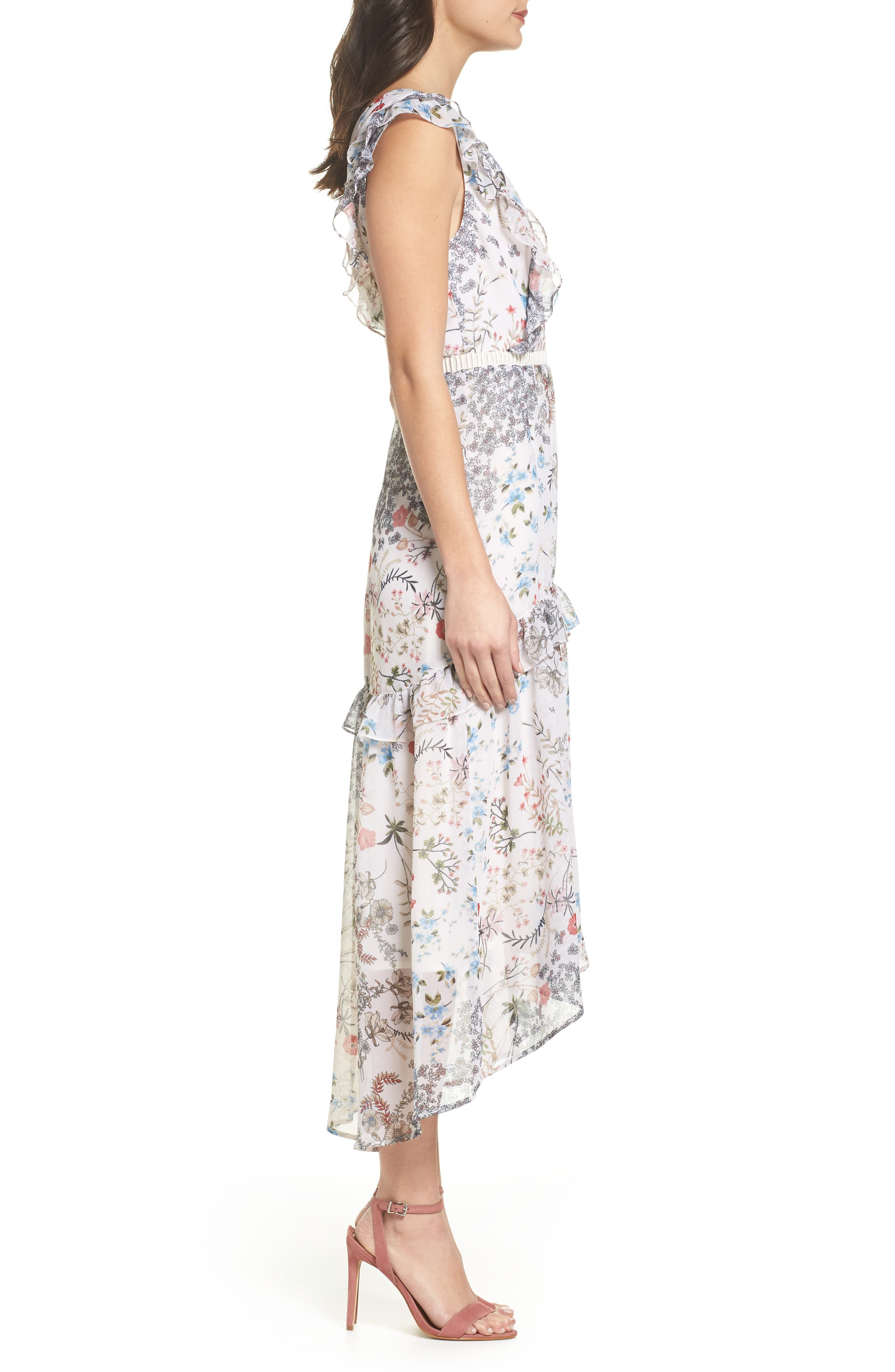 Print High/Low Midi Dress,                             Alternate thumbnail 3, color,                             900