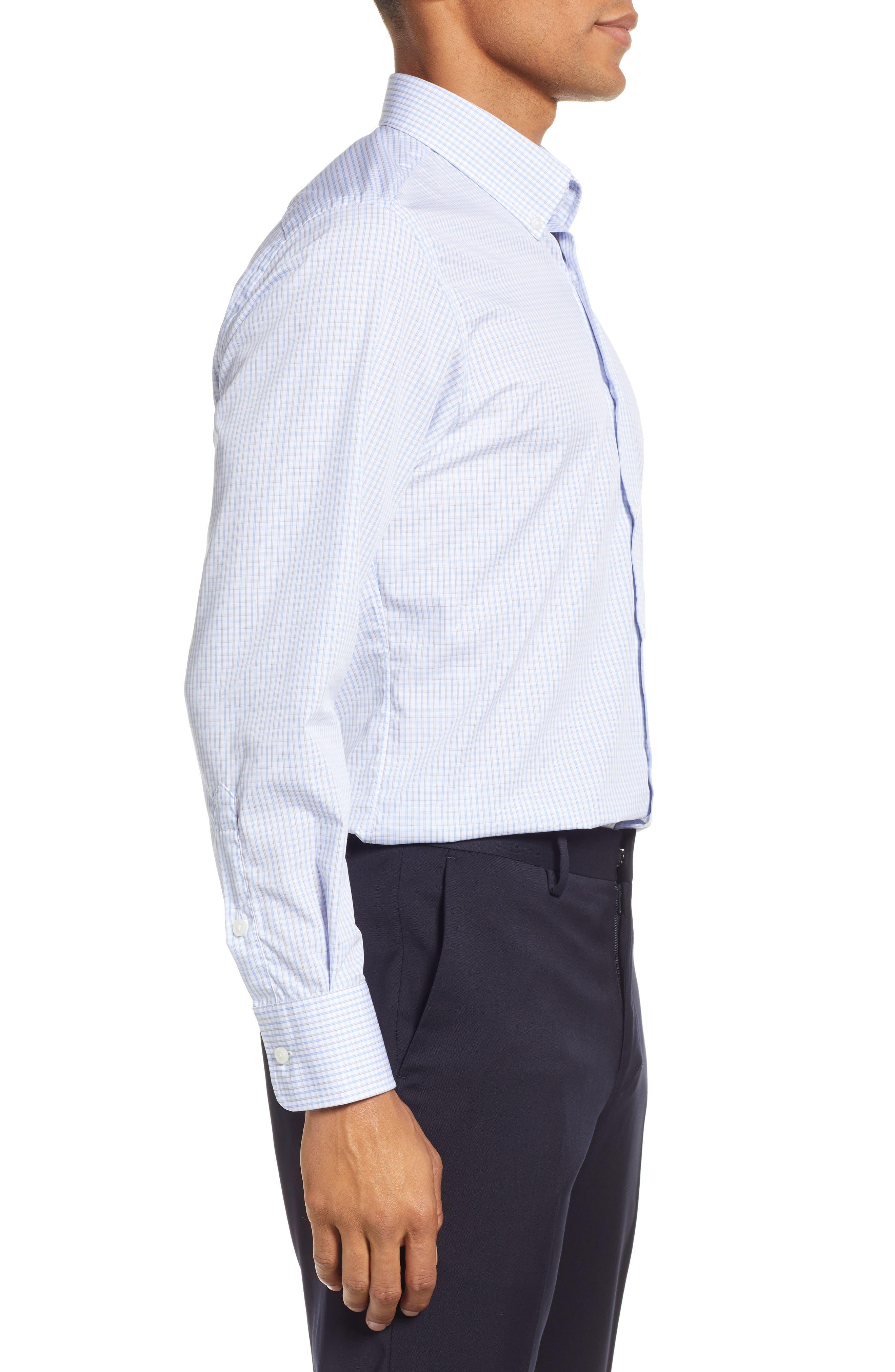Classic Fit Check Dress Shirt,                             Alternate thumbnail 4, color,                             BROWN