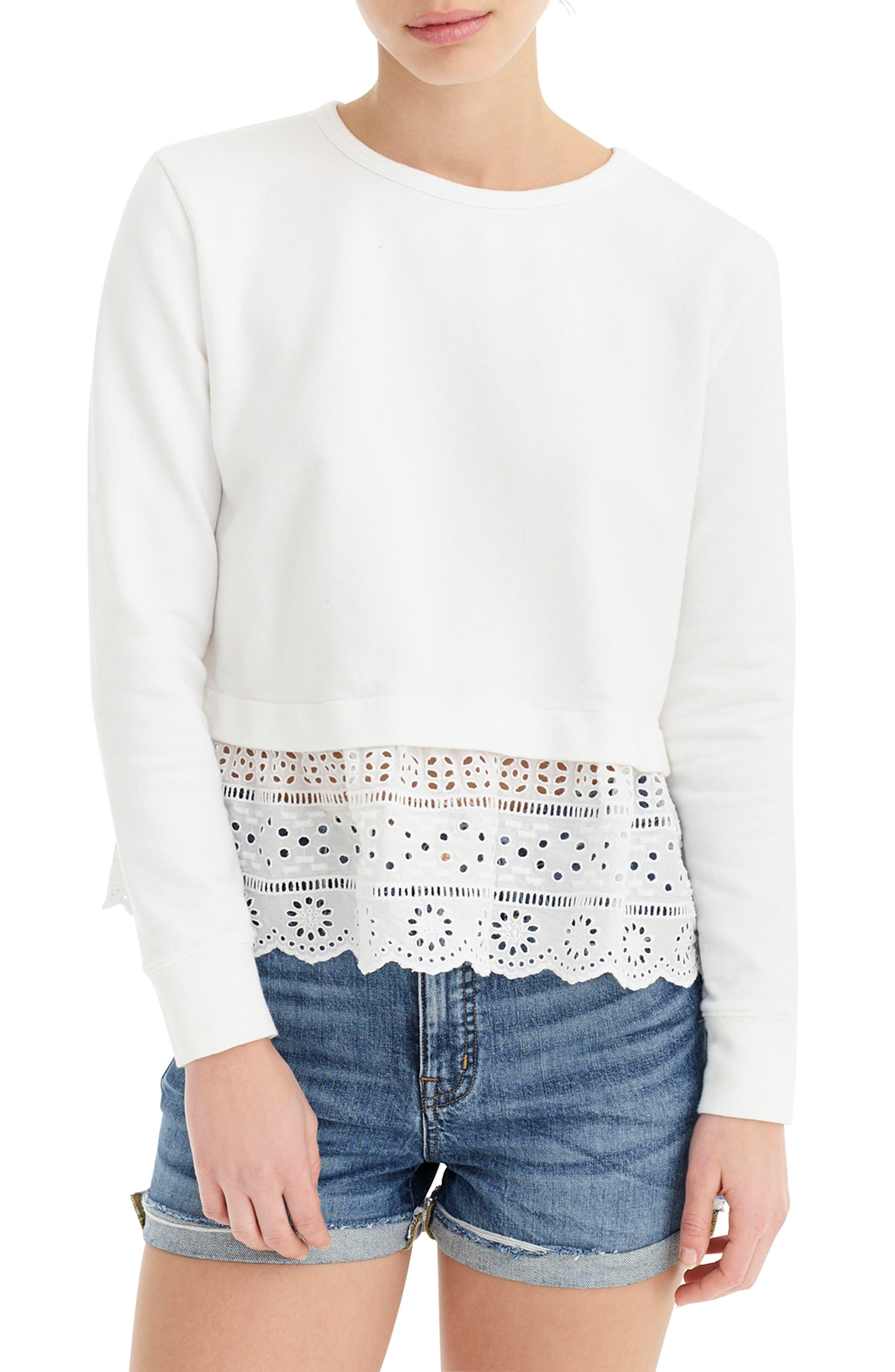 Plus Size J.crew Eyelet Hem Sweatshirt, Size - White