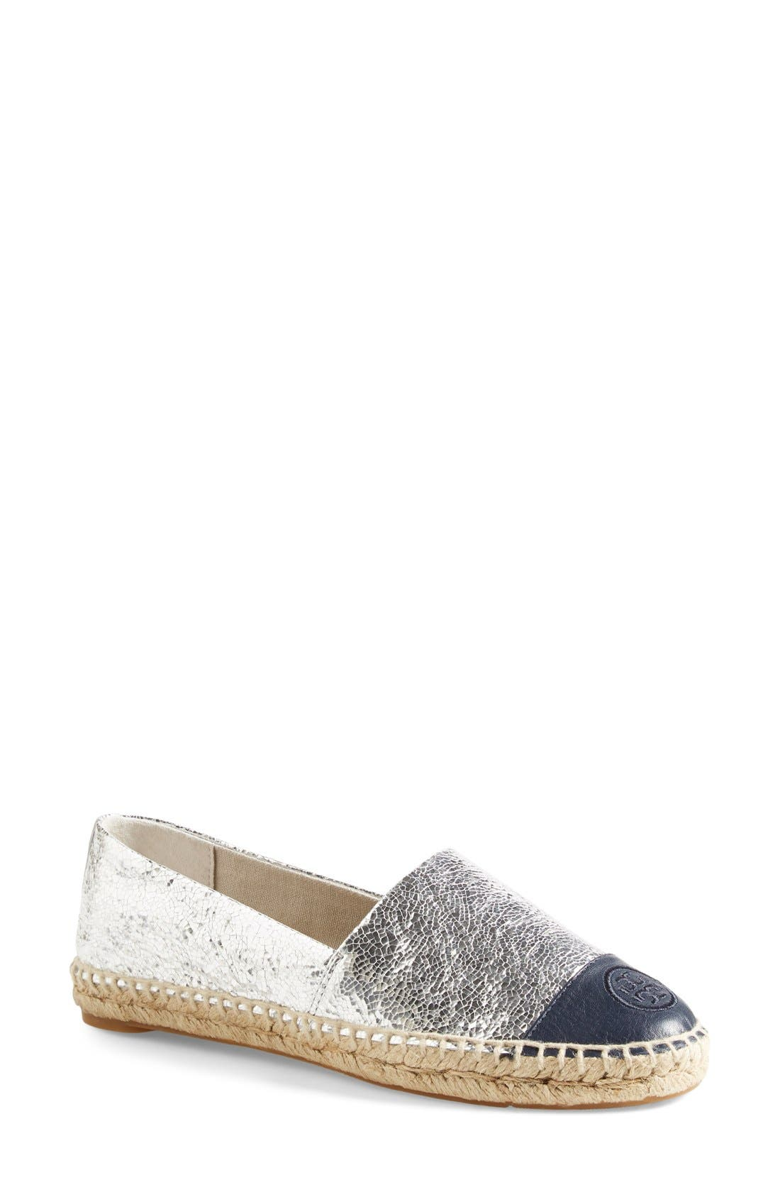 Colorblock Espadrille Flat,                             Main thumbnail 1, color,                             SILVER/ TORY NAVY