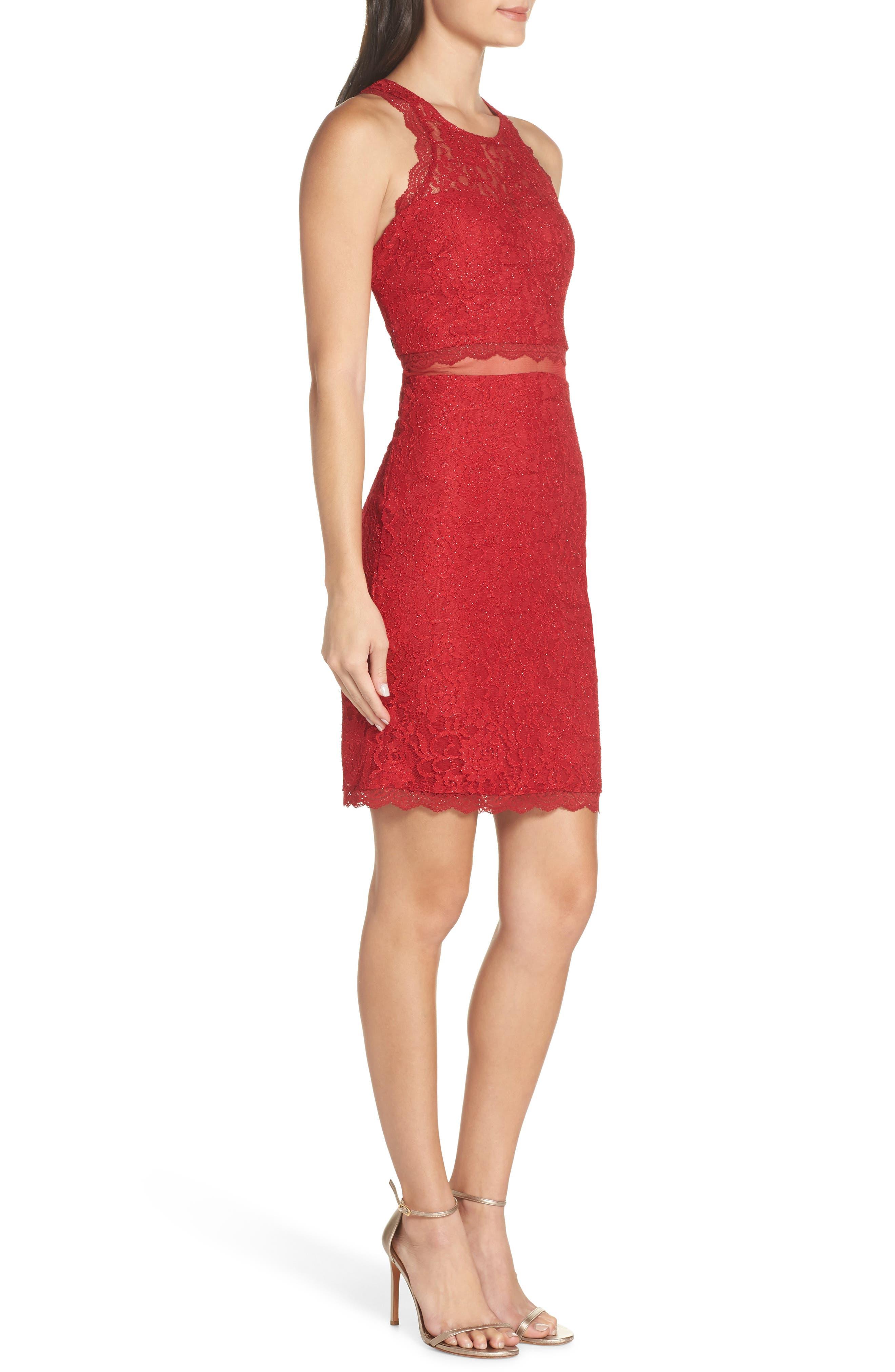 Sleeveless Glitter Lace Sheath Dress,                             Alternate thumbnail 3, color,                             RE RED
