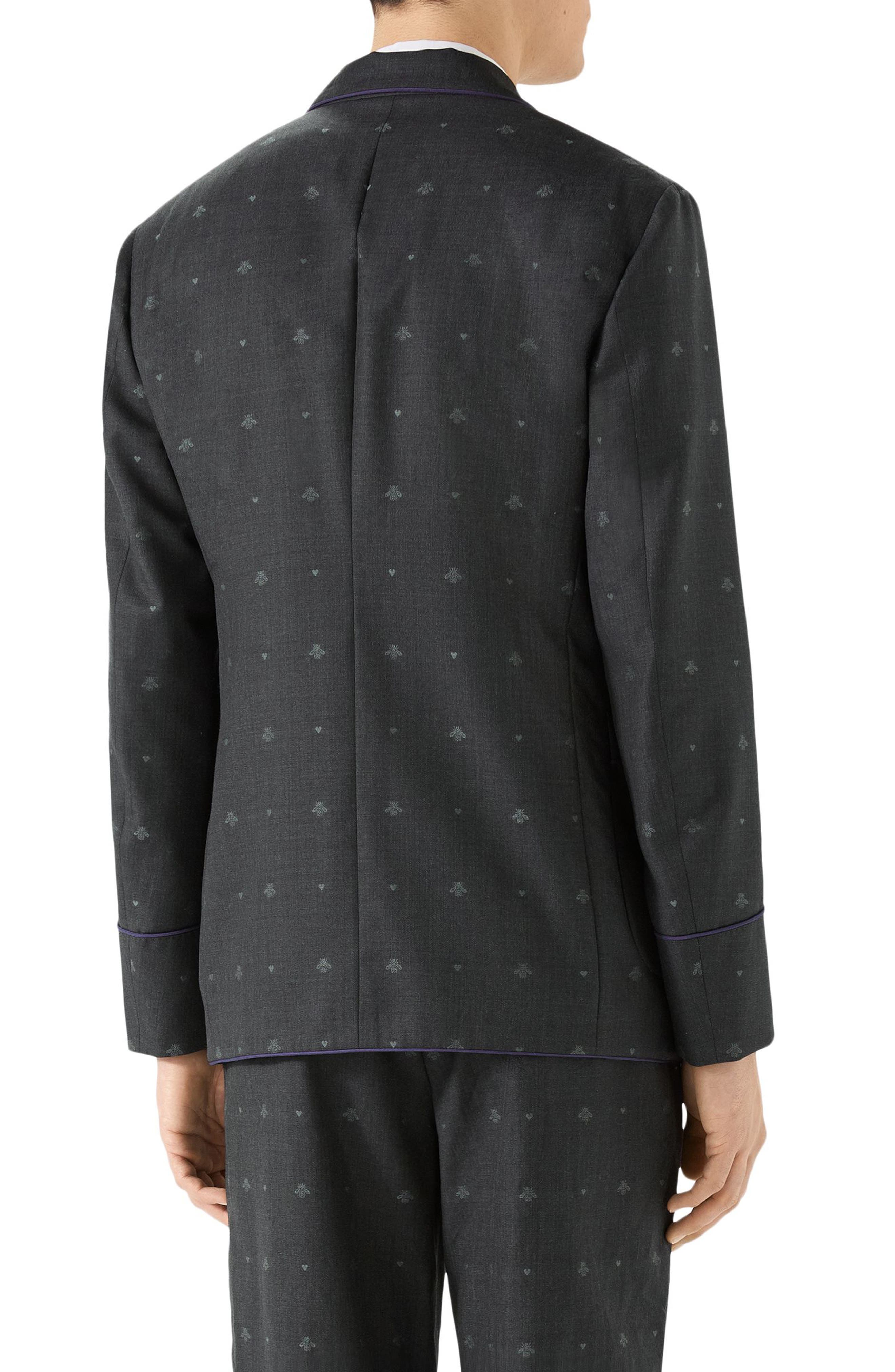 GUCCI,                             Bee & Heart Print Wool Sport Coat,                             Alternate thumbnail 2, color,                             DARK GREY