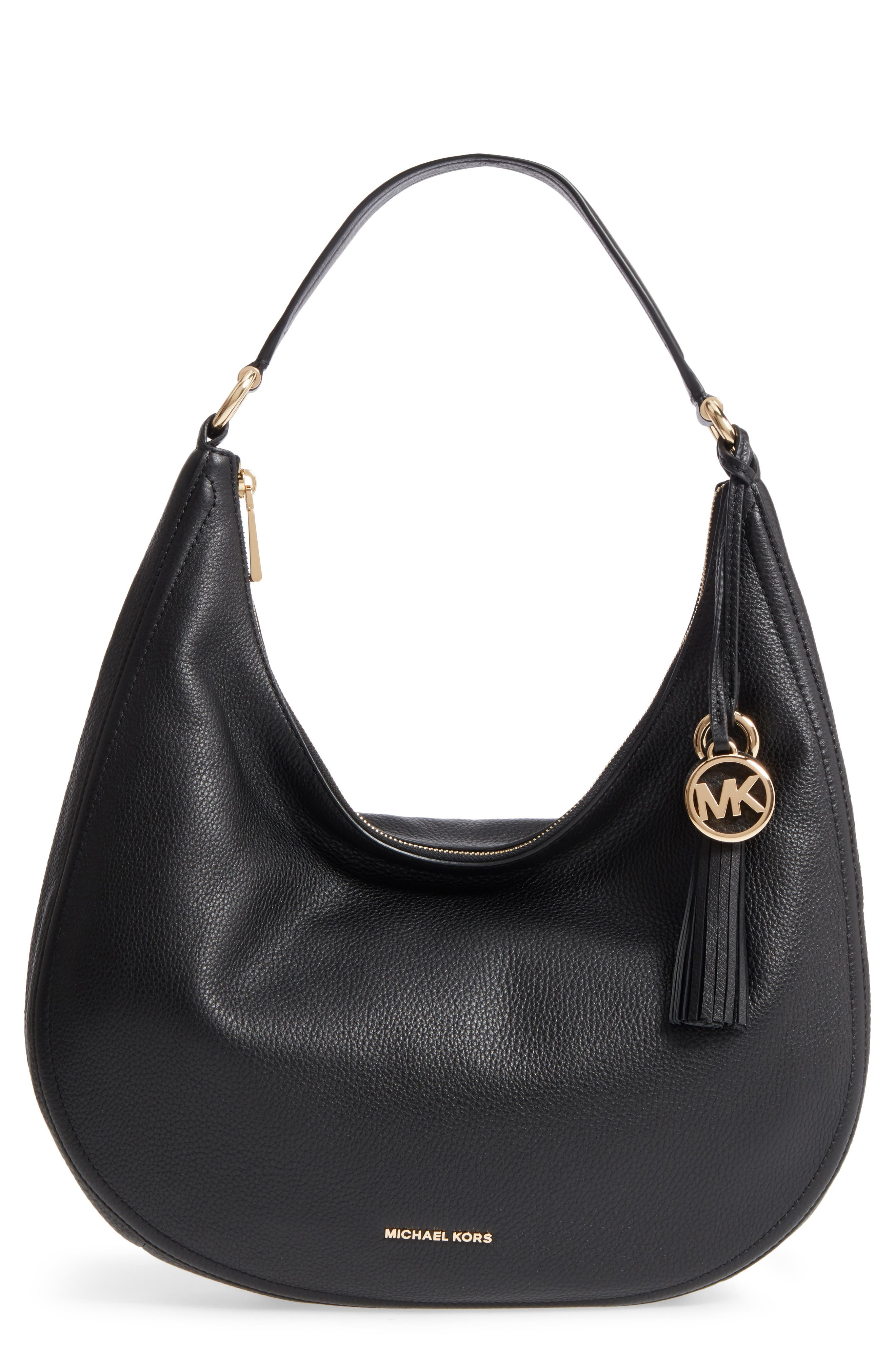 Large Lydia Leather Hobo,                         Main,                         color, 001