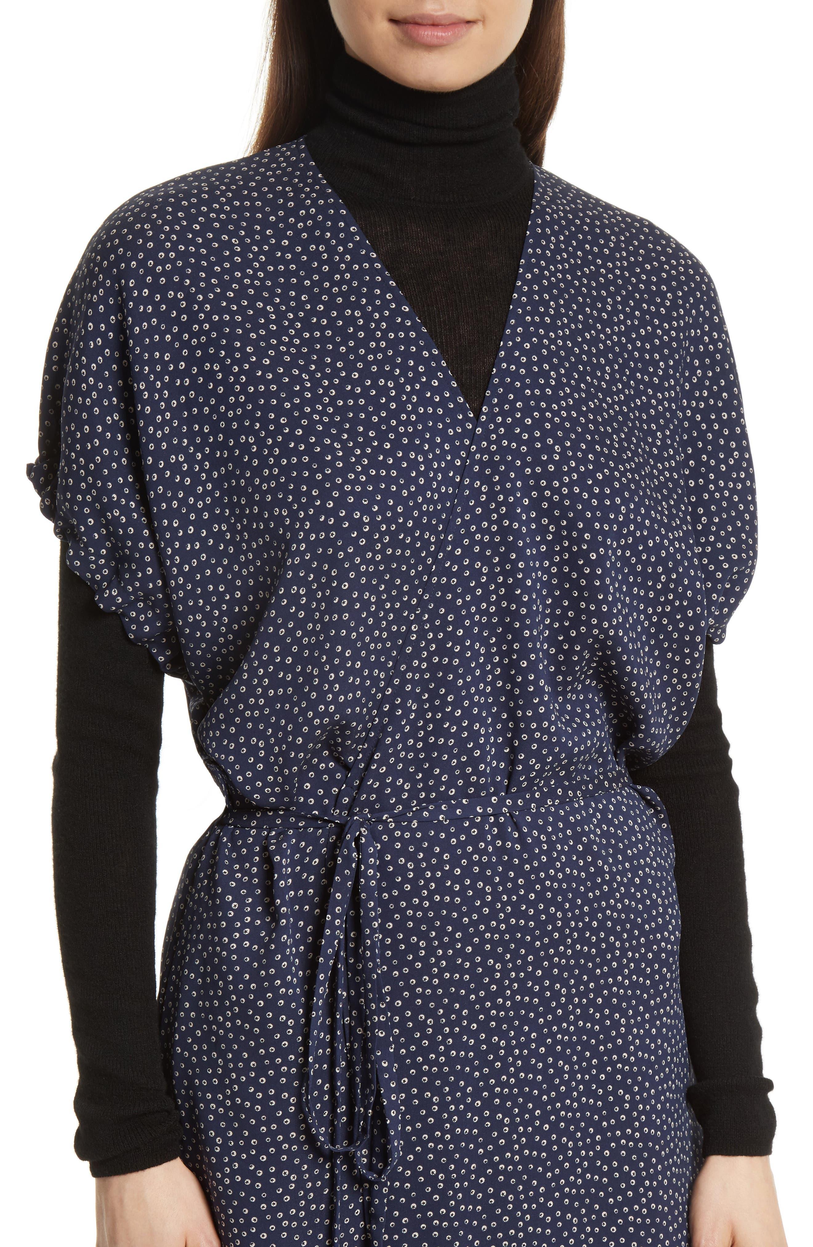 Celestial Polka Dot Kimono Wrap Dress,                             Alternate thumbnail 4, color,                             415