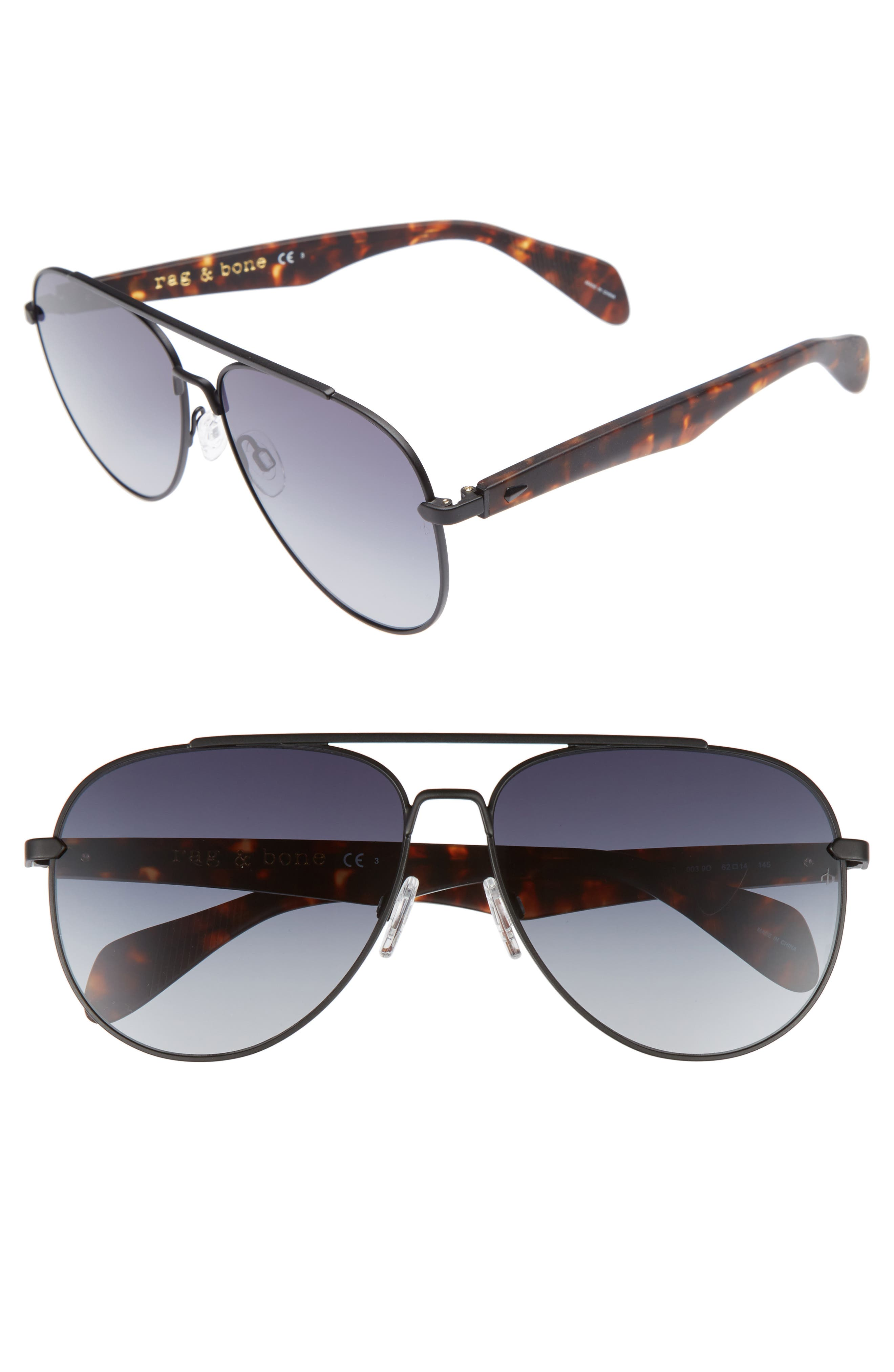 62mm Aviator Sunglasses,                         Main,                         color, MATTE BLACK