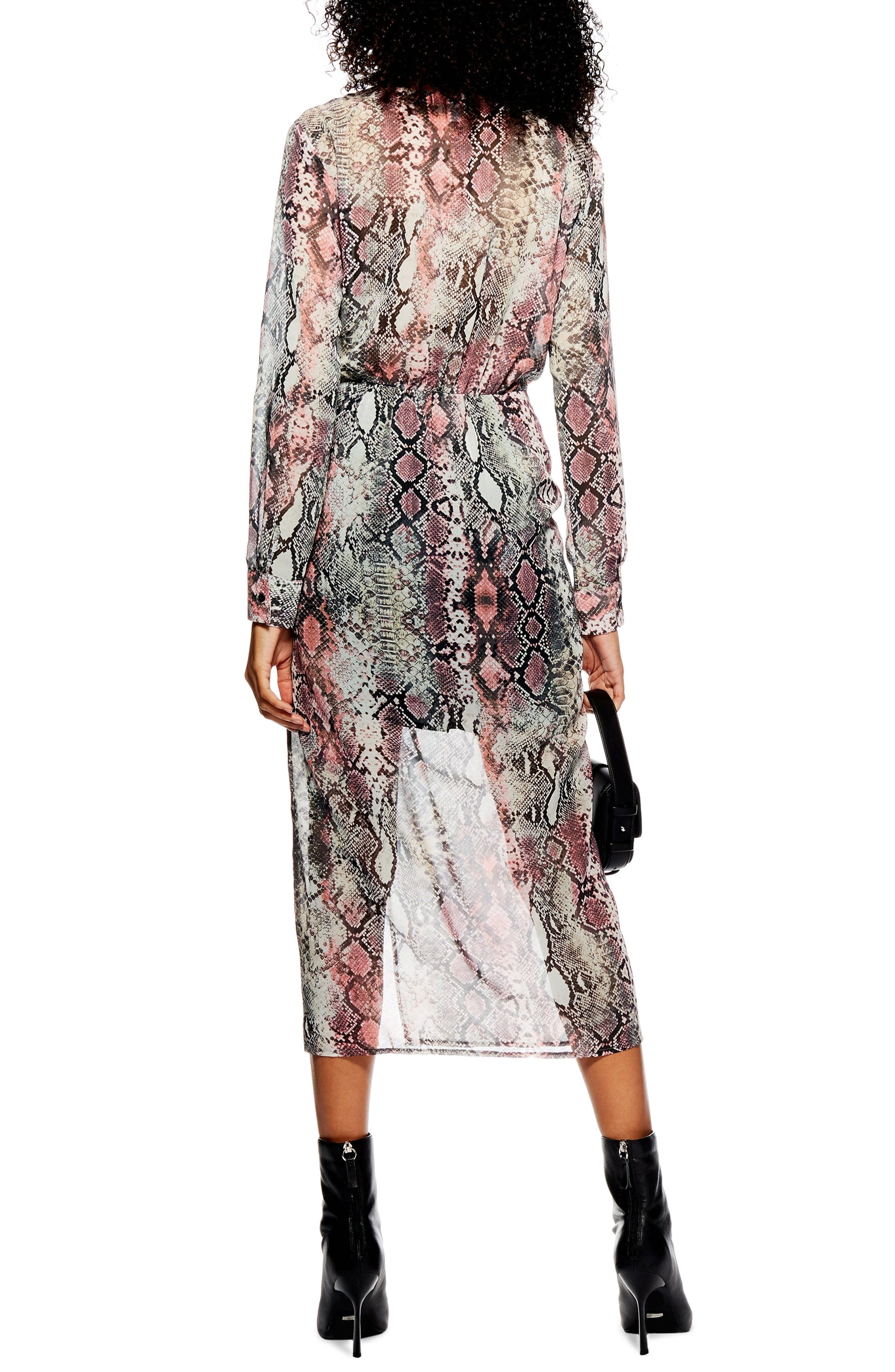 TOPSHOP,                             Snake Print Chiffon Midi Dress,                             Alternate thumbnail 2, color,                             PINK
