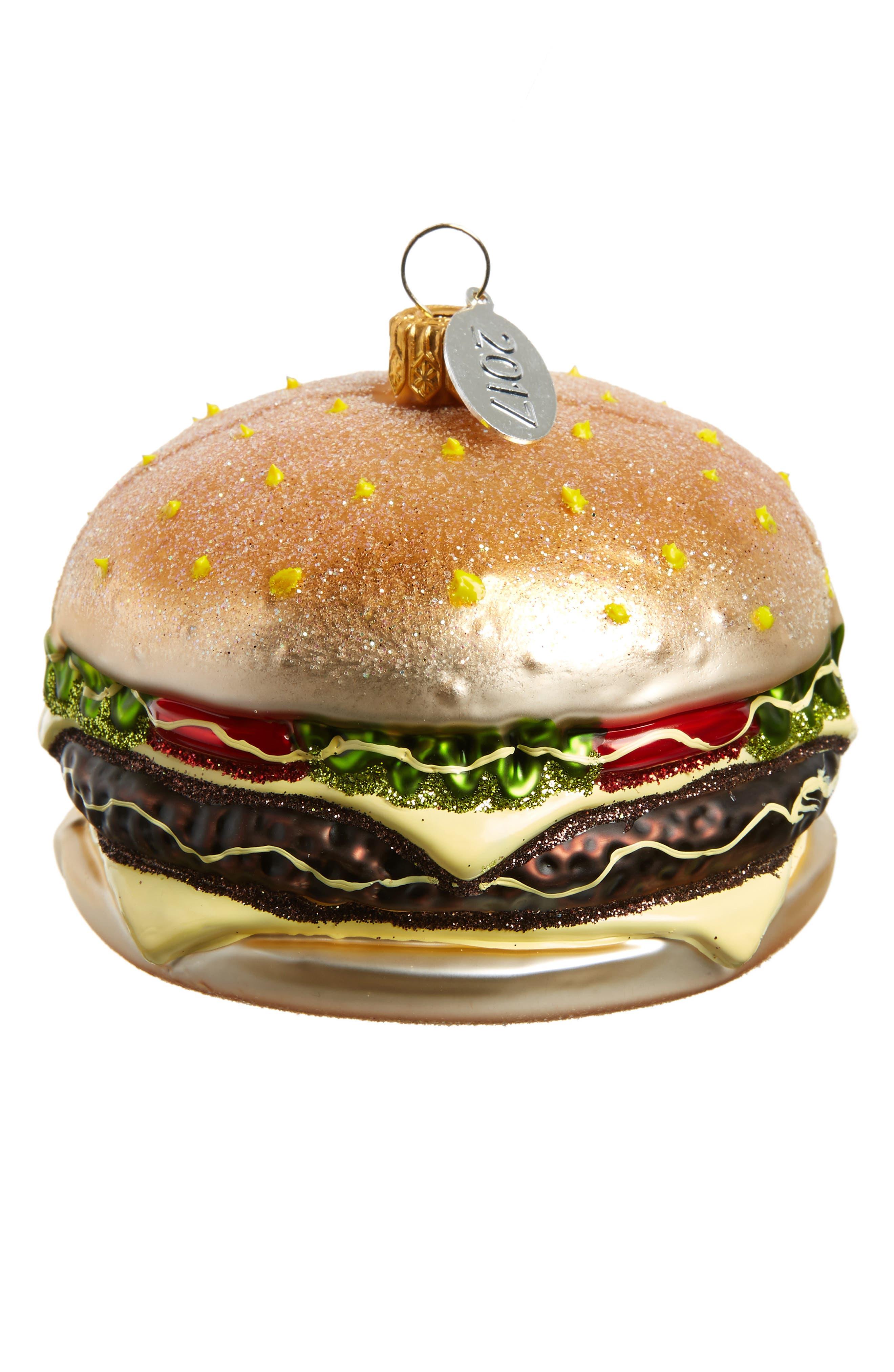 Cheeseburger Glass Ornament,                         Main,                         color, GOLD MULTI