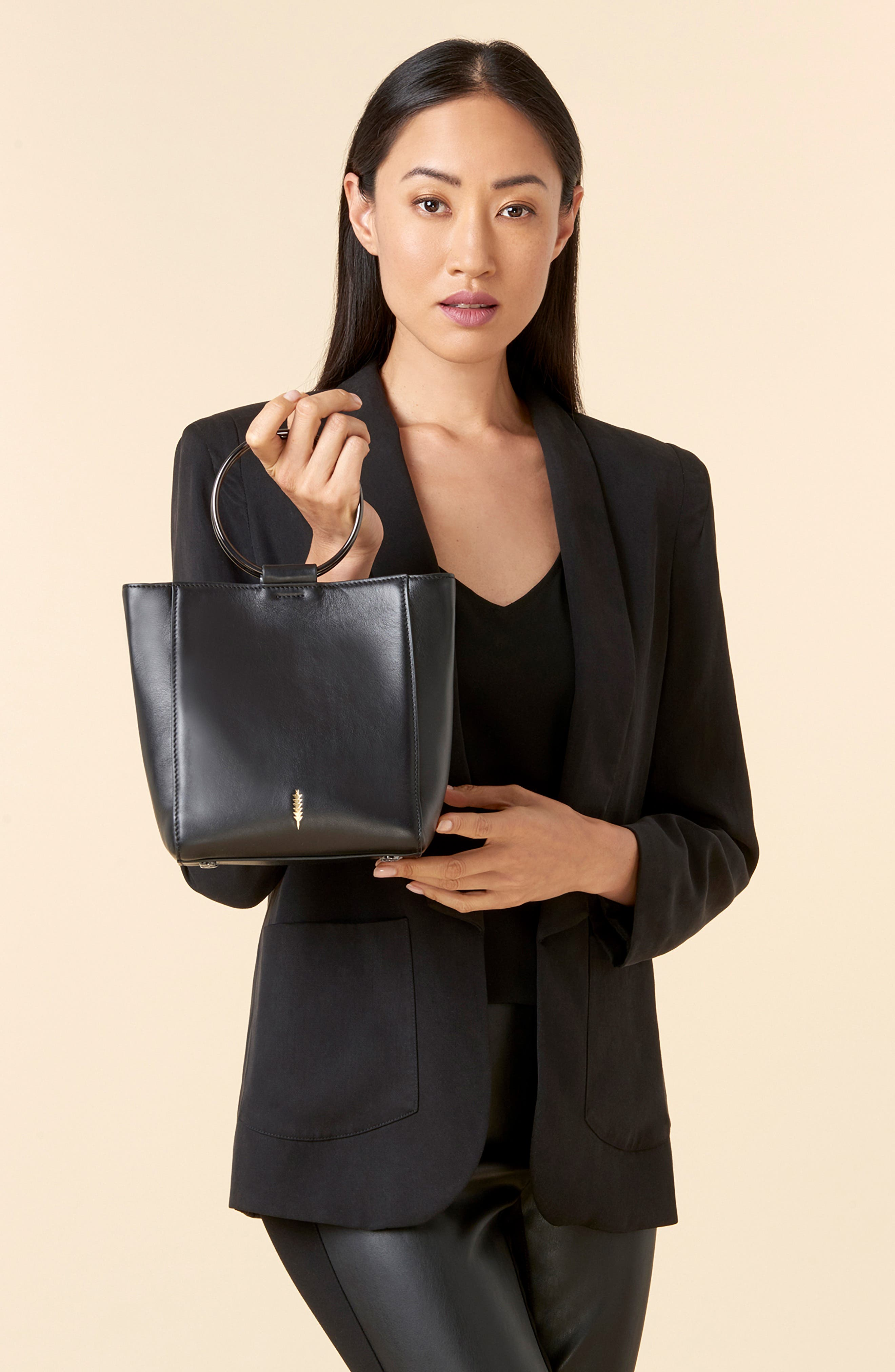 THACKER,                             Le Bucket Leather Bag,                             Alternate thumbnail 2, color,                             BLACK/ GUNMETAL