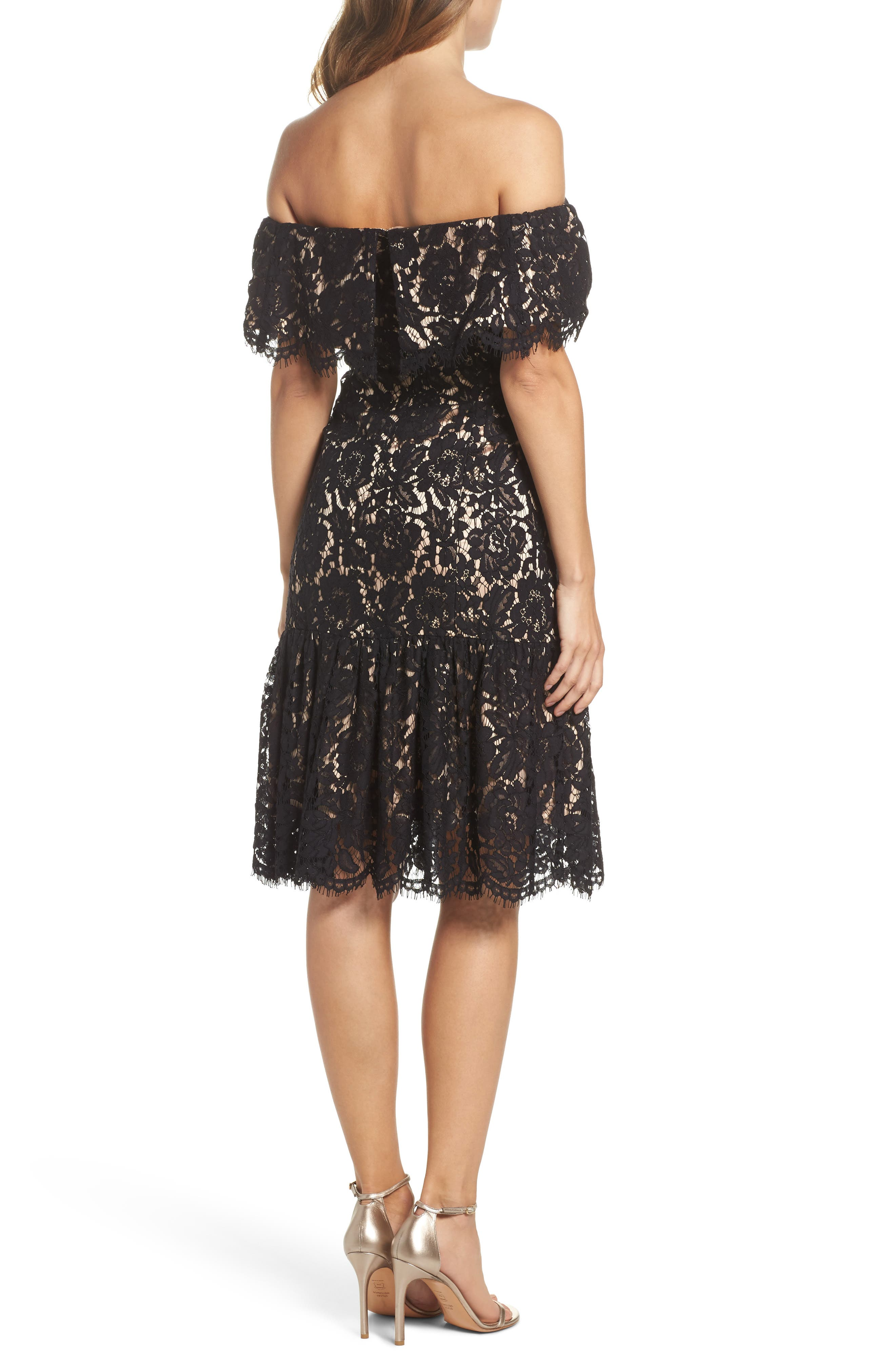 Lace Off the Shoulder Midi Dress,                             Alternate thumbnail 2, color,                             001