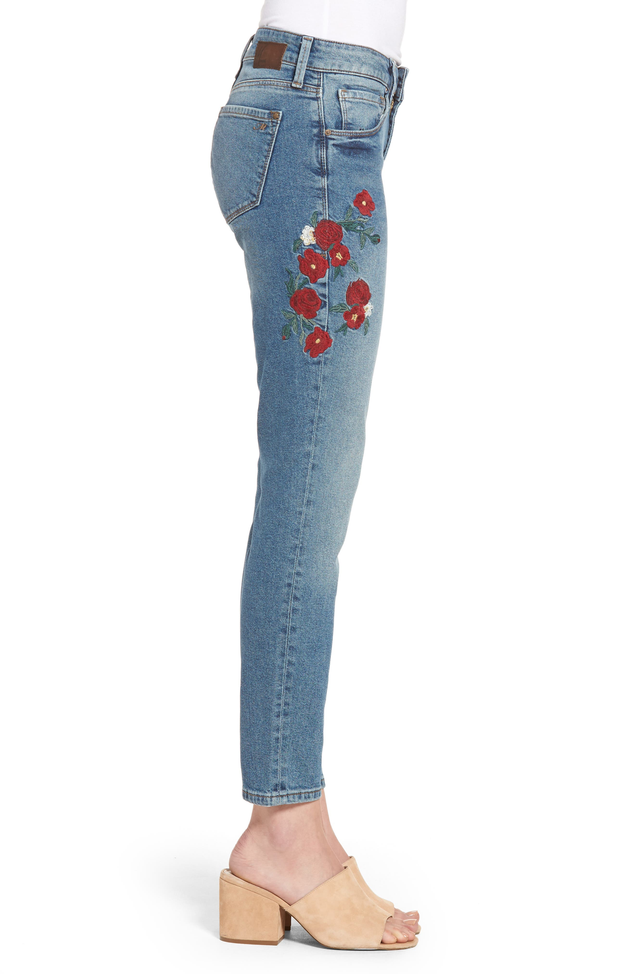 Adriana Embroidered Ankle Skinny Jeans,                             Alternate thumbnail 3, color,                             420