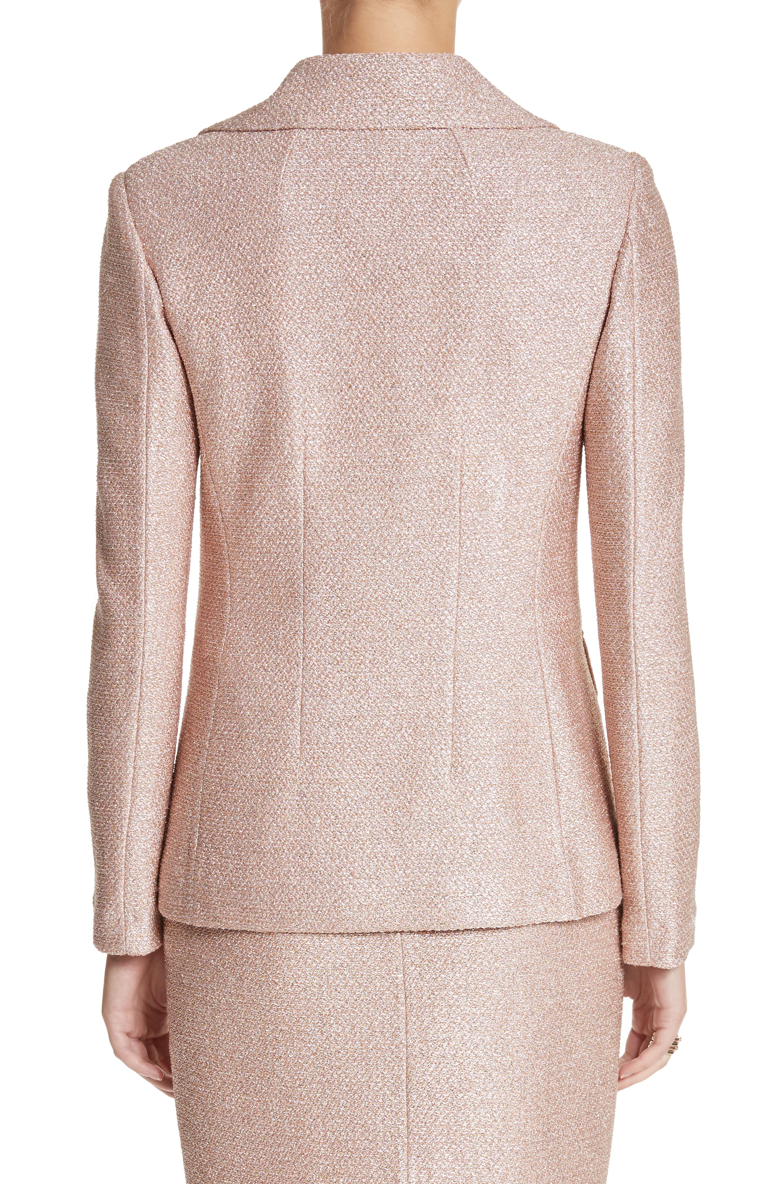 Double Breasted Frosted Metallic Knit Jacket,                             Alternate thumbnail 2, color,                             660