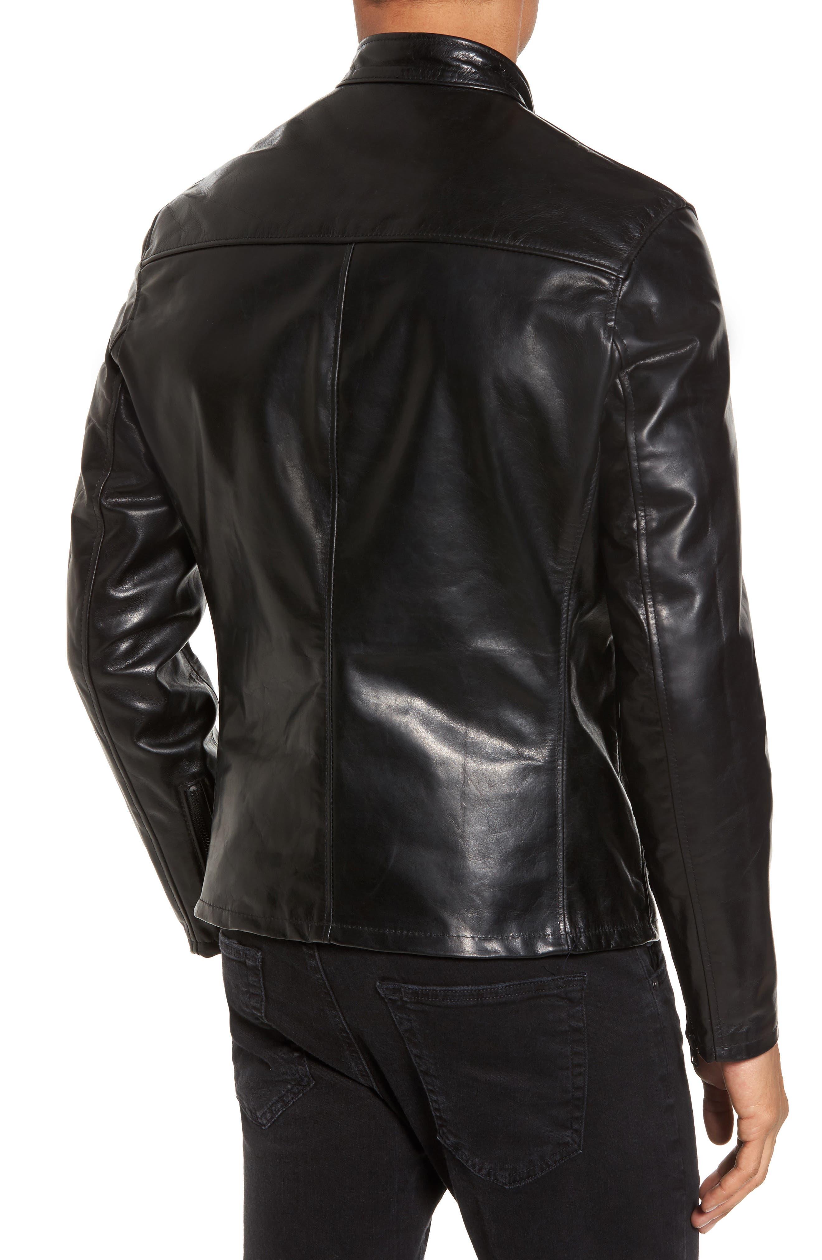 Café Racer Unlined Cowhide Leather Jacket,                             Alternate thumbnail 2, color,                             BLACK