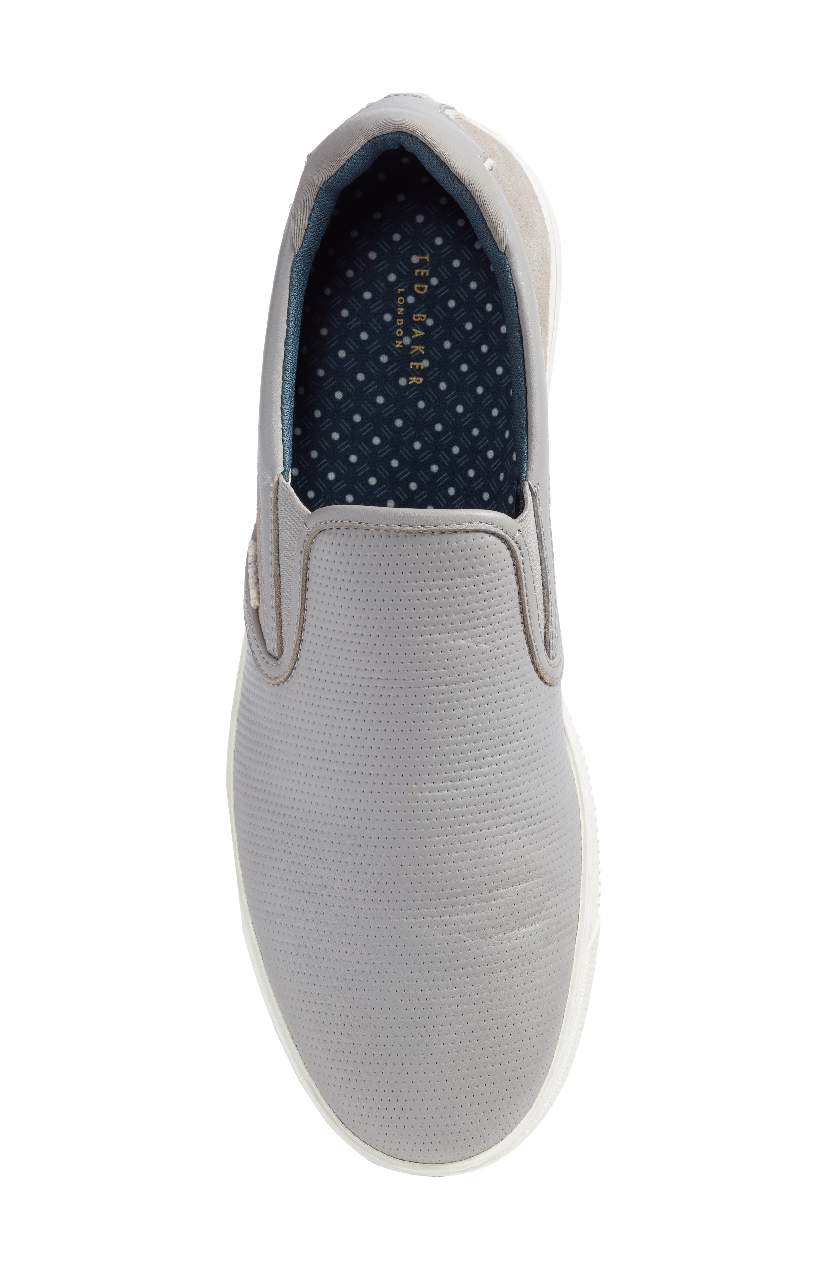 Patroy Perforated Slip-On Sneaker,                             Alternate thumbnail 5, color,                             LIGHT GREY LEATHER