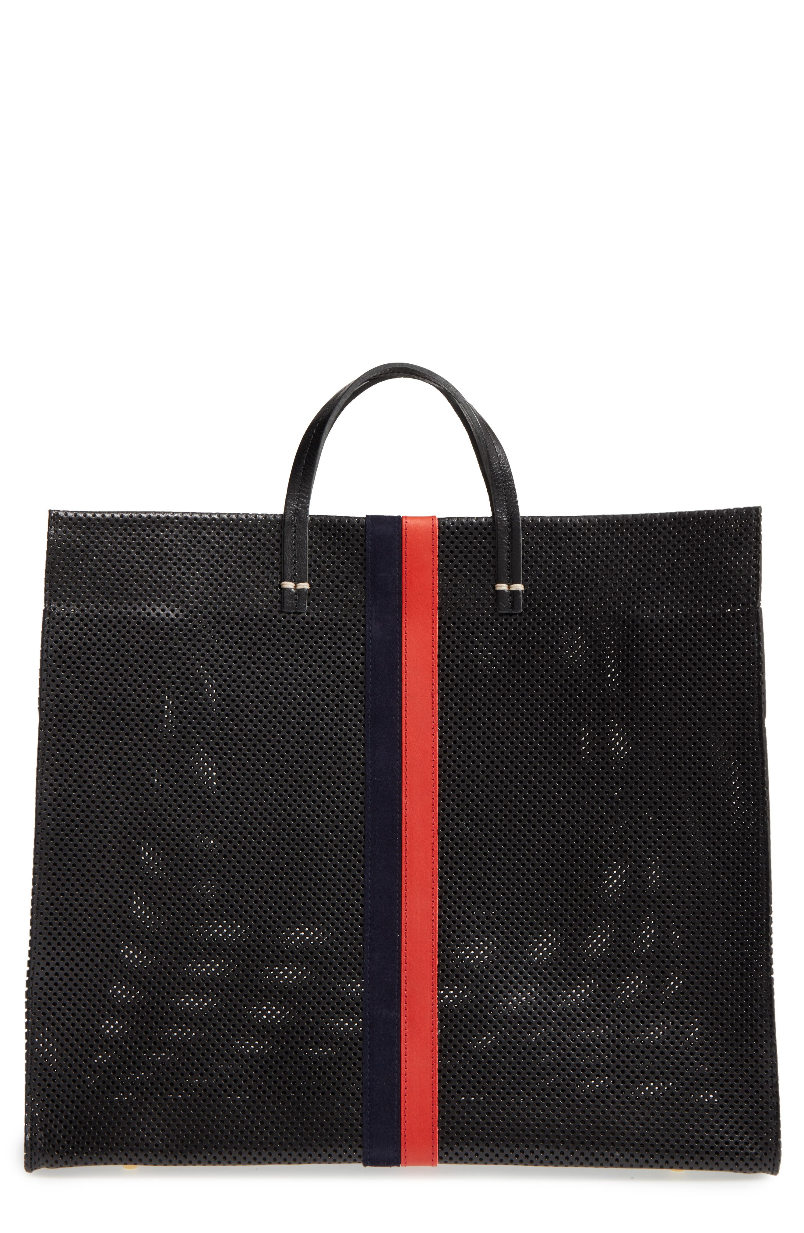 Simple Perforated Leather Tote,                             Main thumbnail 1, color,                             001