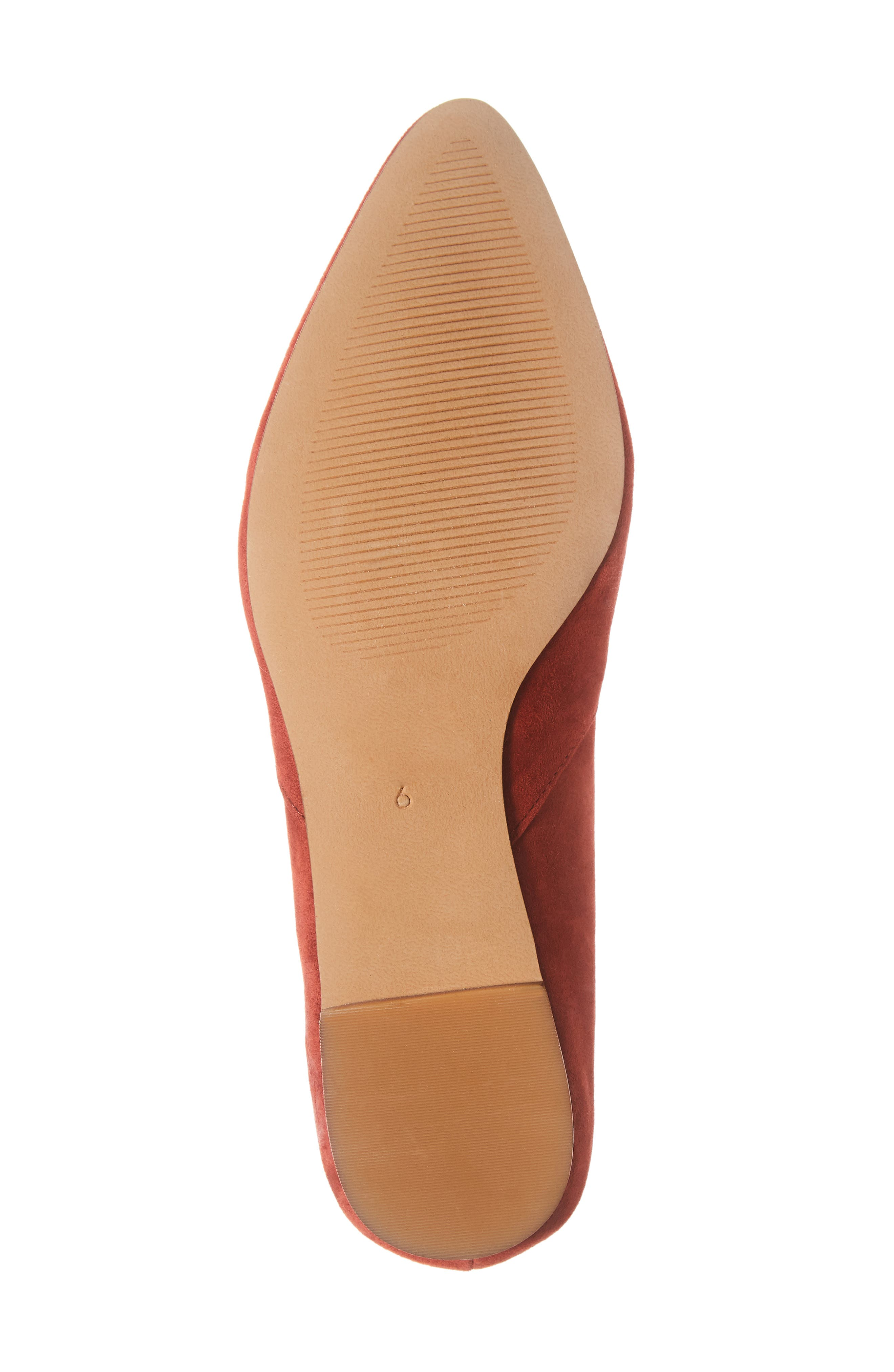 Lizbeth Pointy Toe Flat,                             Alternate thumbnail 6, color,                             DARK CINNABAR
