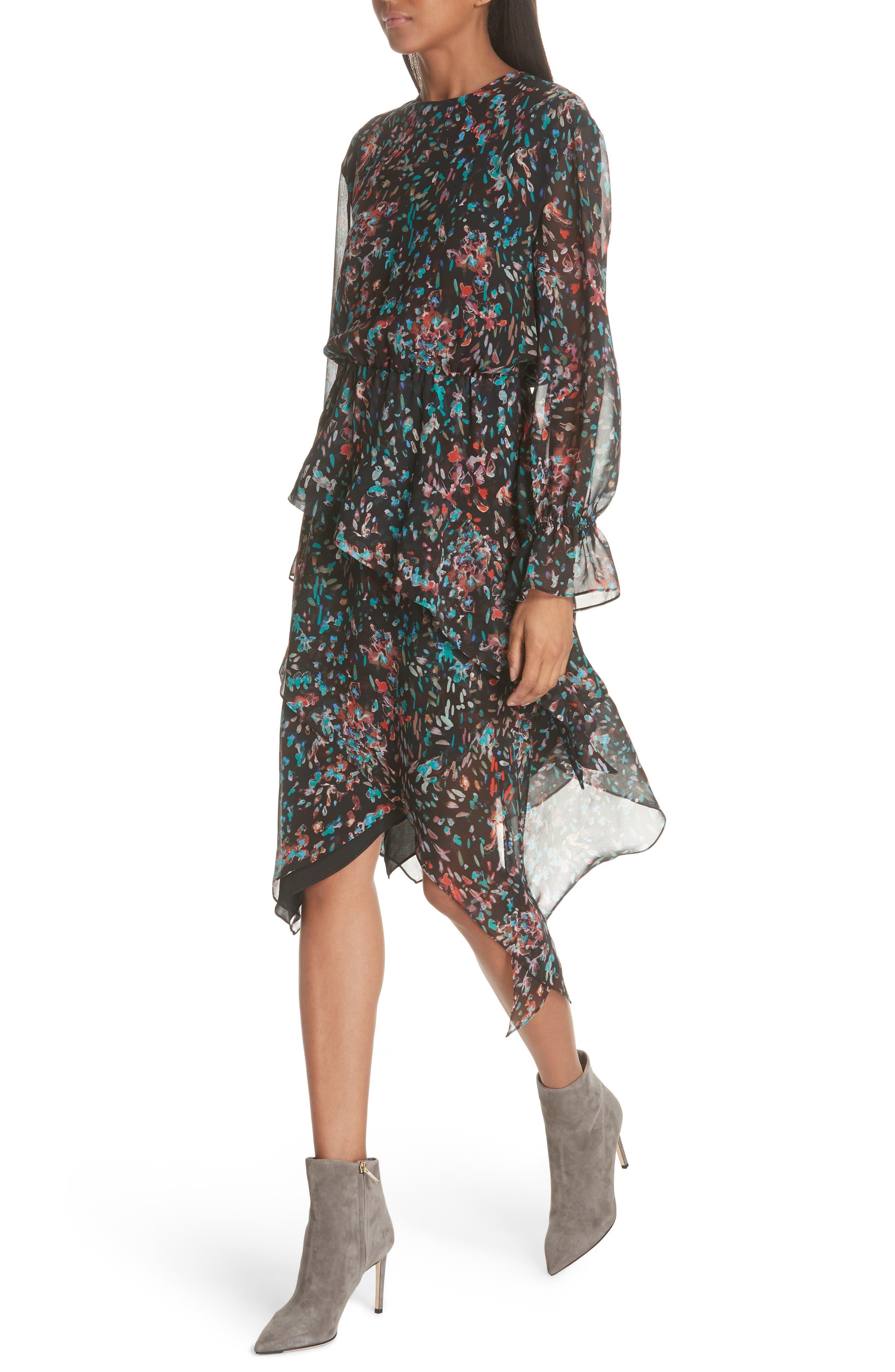 Print Asymmetrical Dress,                             Alternate thumbnail 4, color,                             BLACK