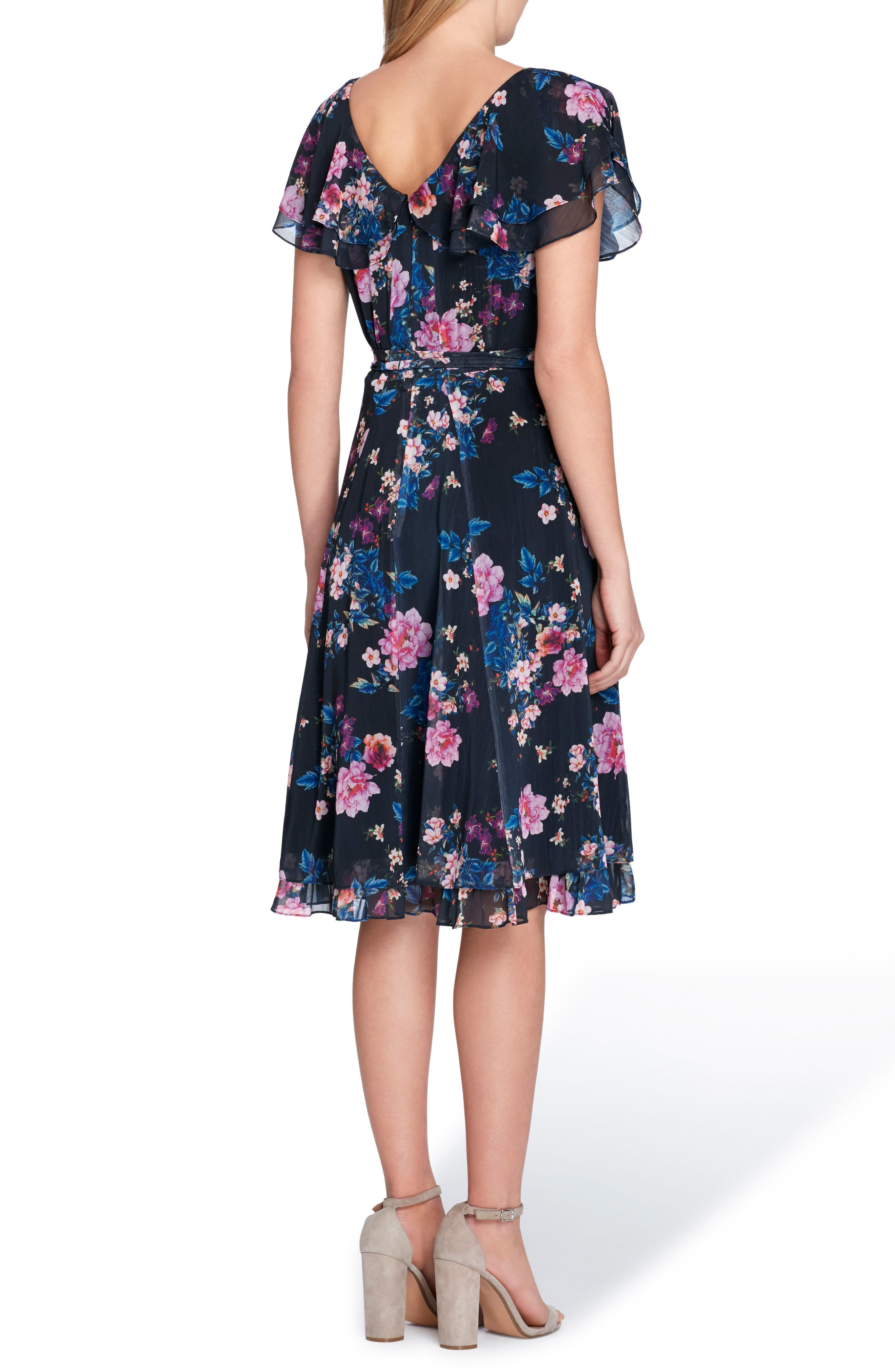Flutter Sleeve Floral Print Fit & Flare Dress,                             Alternate thumbnail 2, color,                             478