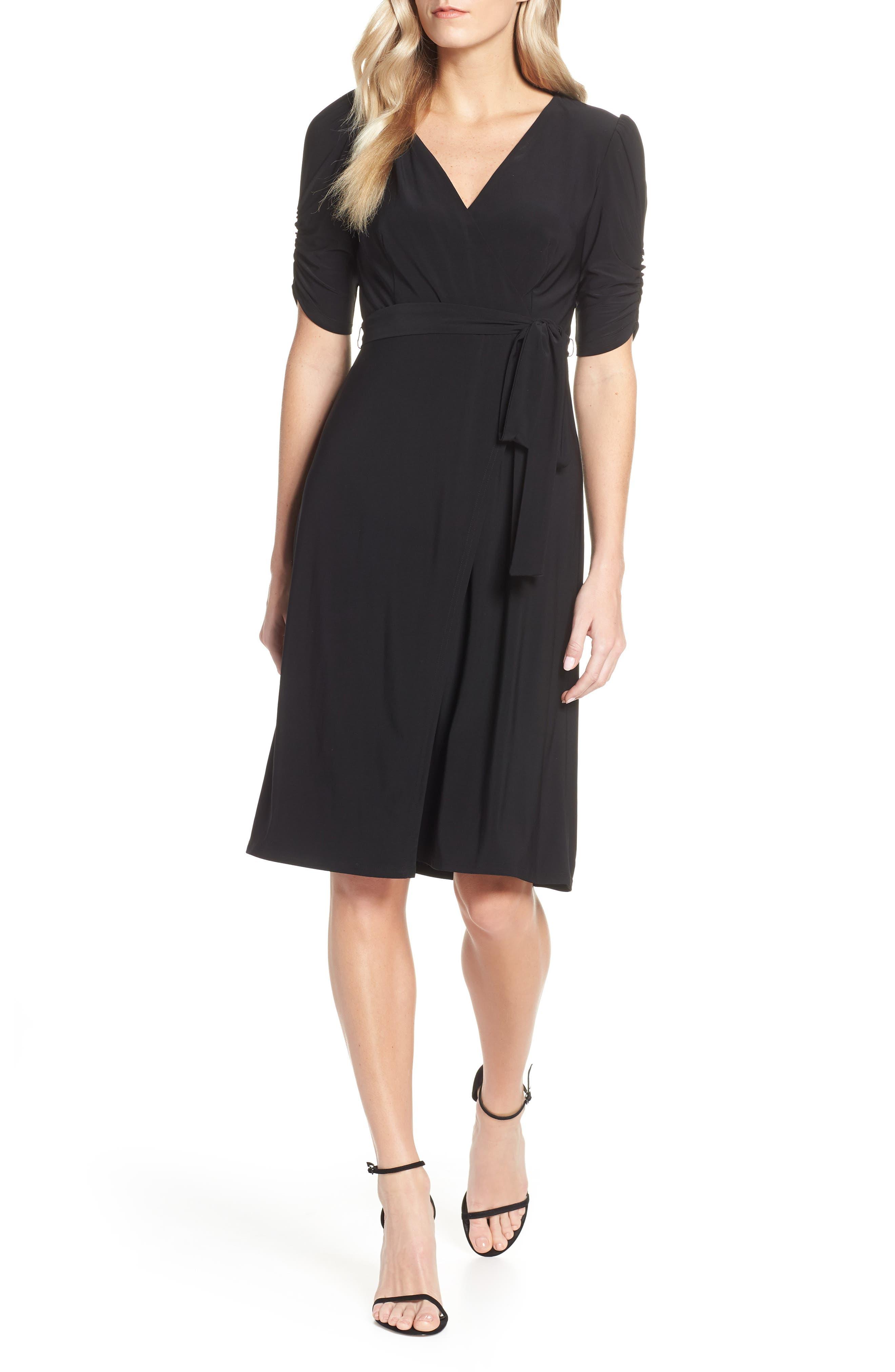 Eliza J Ruched Sleeve Faux Wrap Dress, Black