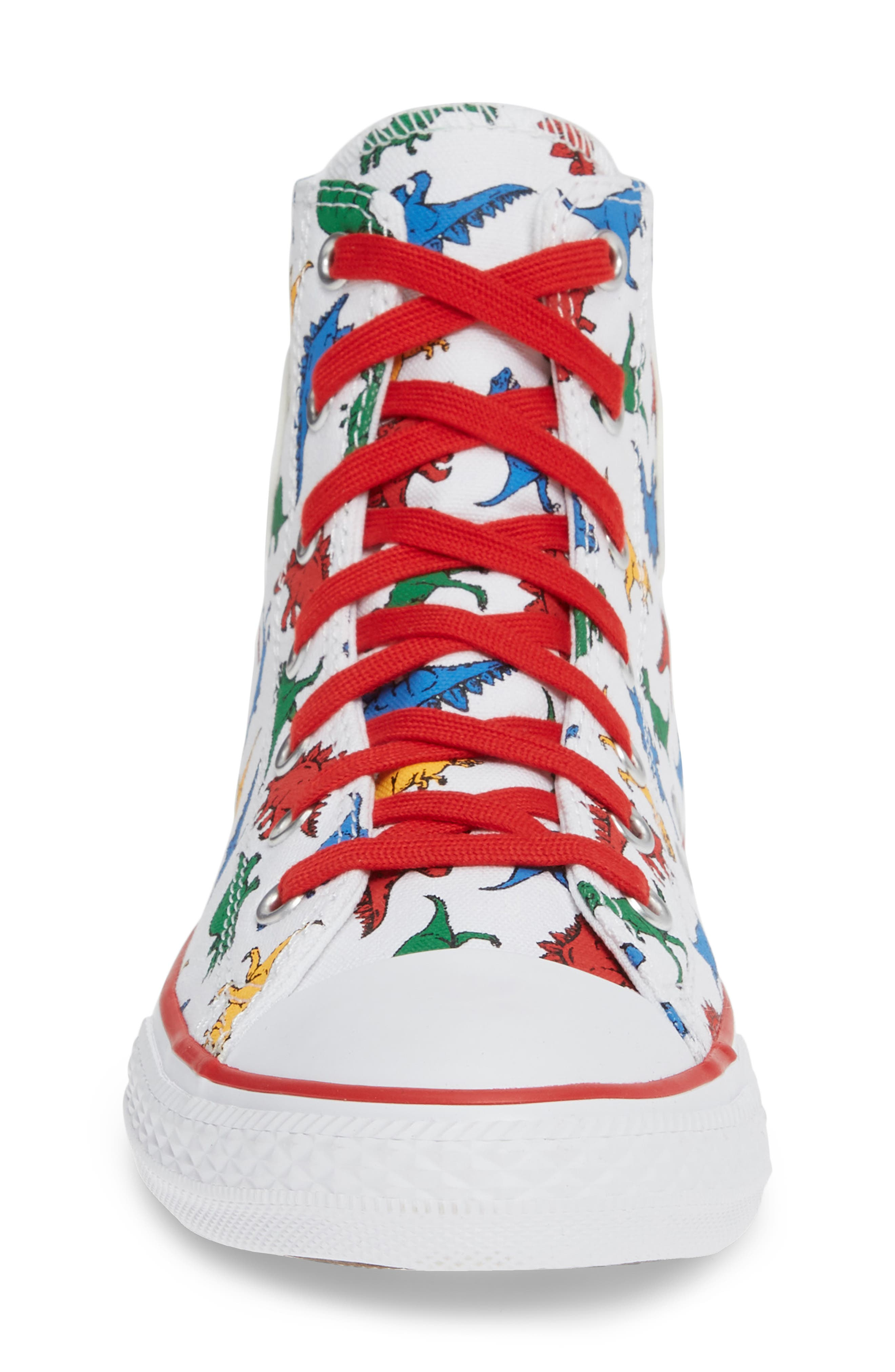 CONVERSE,                             Chuck Taylor<sup>®</sup> All Star<sup>®</sup> Dino High Top Sneaker,                             Alternate thumbnail 4, color,                             WHITE/ ENAMEL RED/ BLUE DINO