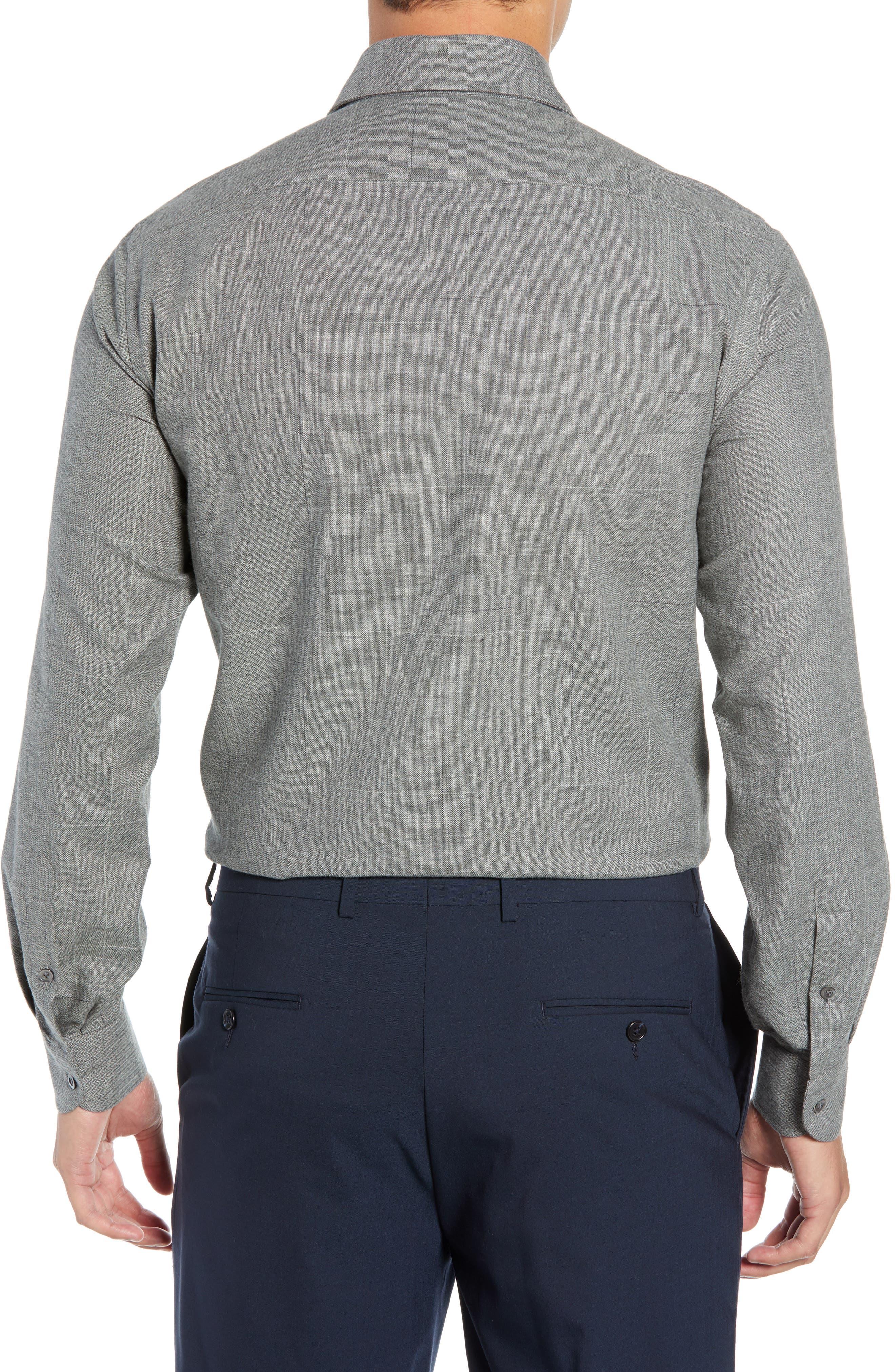 Slim Fit Herringbone Dress Shirt,                             Alternate thumbnail 3, color,                             GREY