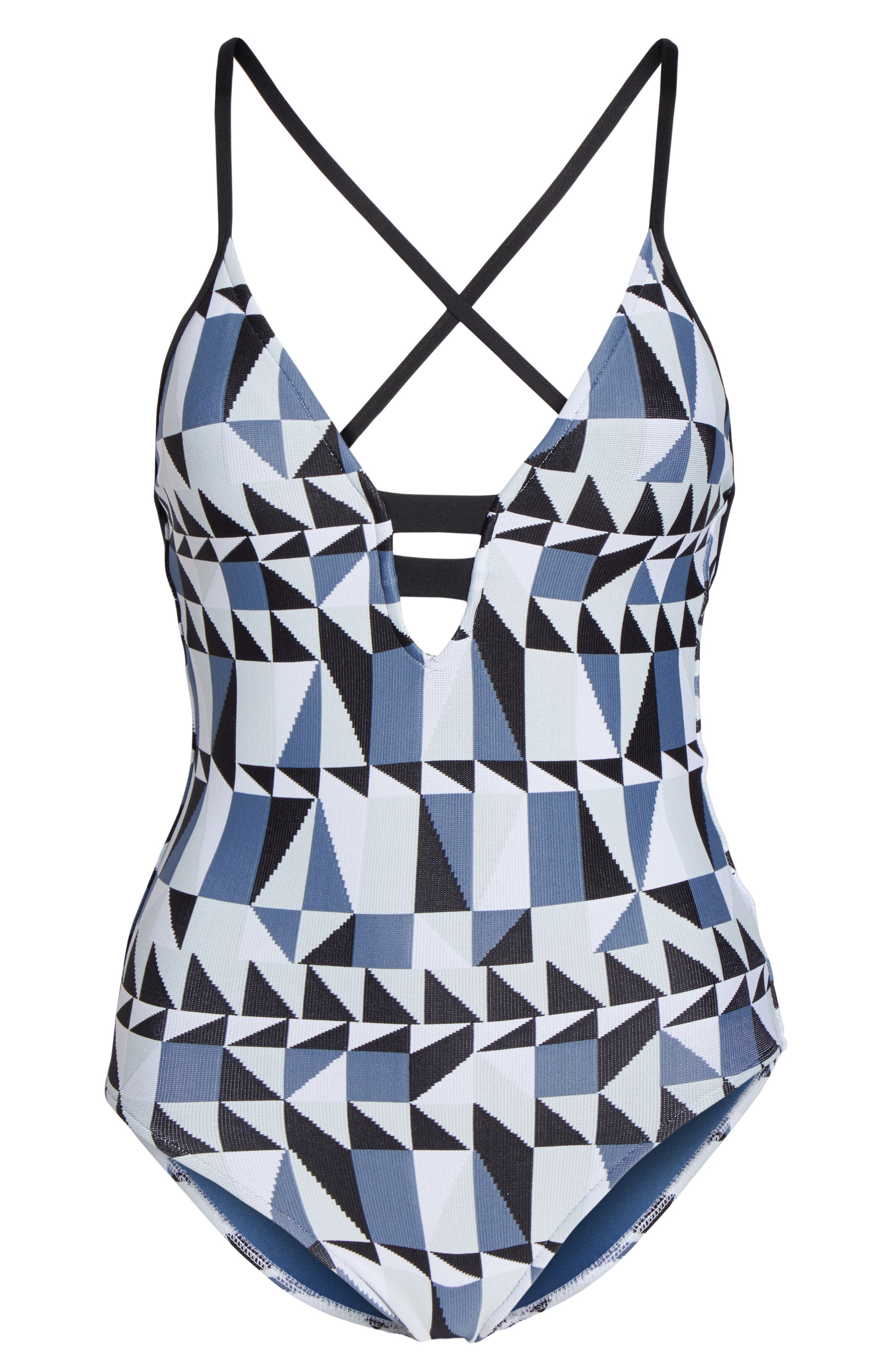 Jagged Geo Deep-V One-Piece Swimsuit,                             Alternate thumbnail 6, color,                             400