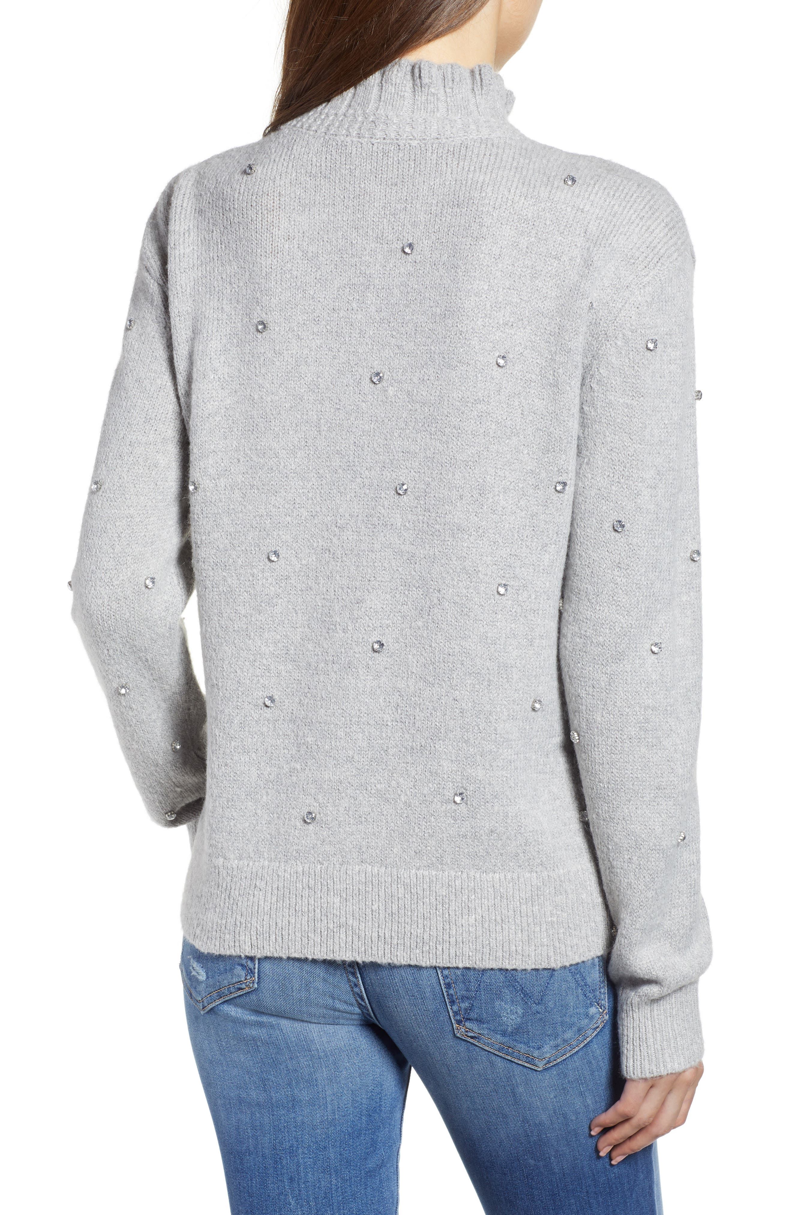 Embellished Ruffle Neck Sweater,                             Alternate thumbnail 2, color,                             GREY LIGHT HEATHER