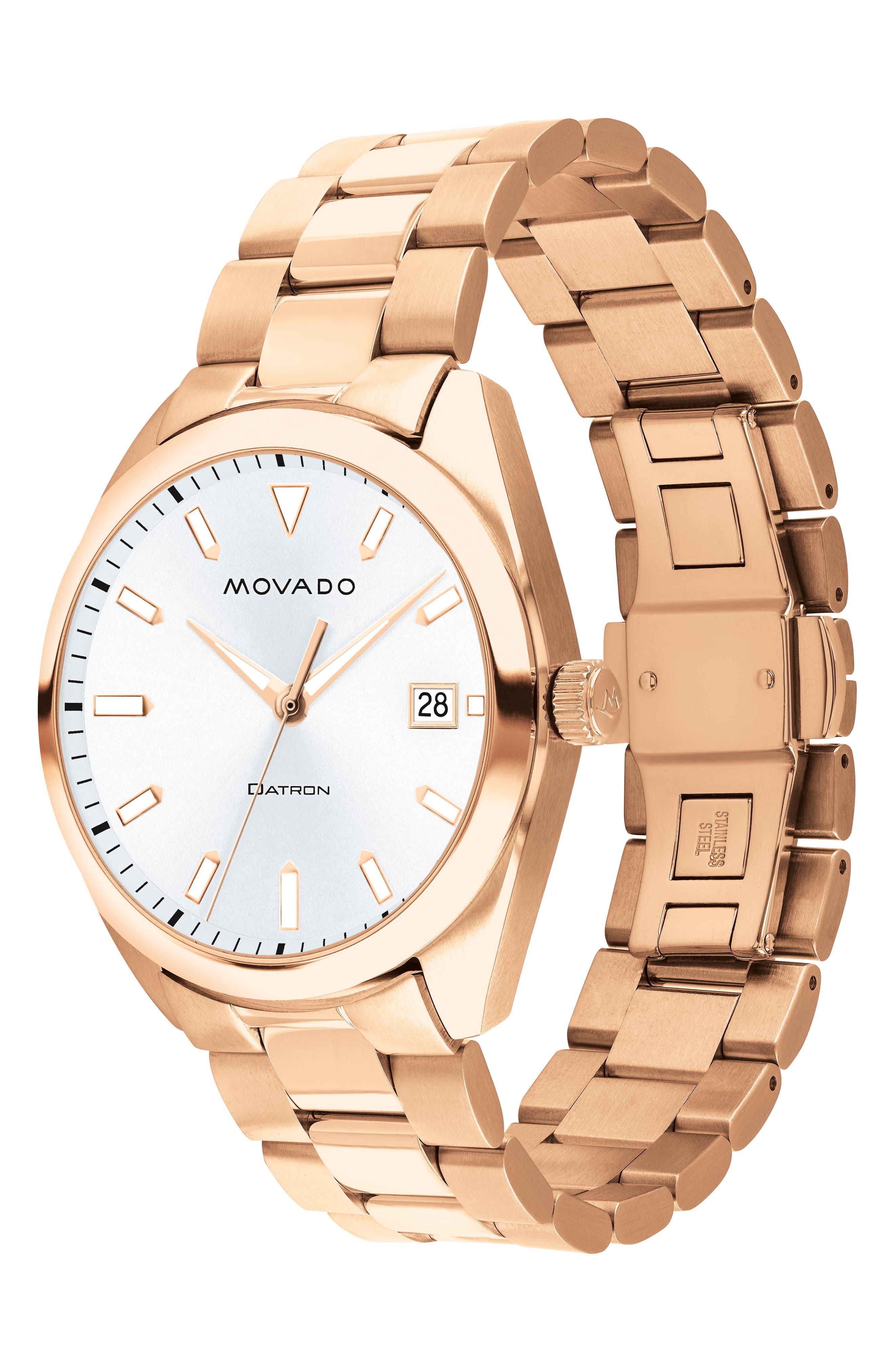 Heritage Bracelet Watch, 39mm,                             Alternate thumbnail 3, color,                             ROSE GOLD/ WHITE/ ROSE GOLD