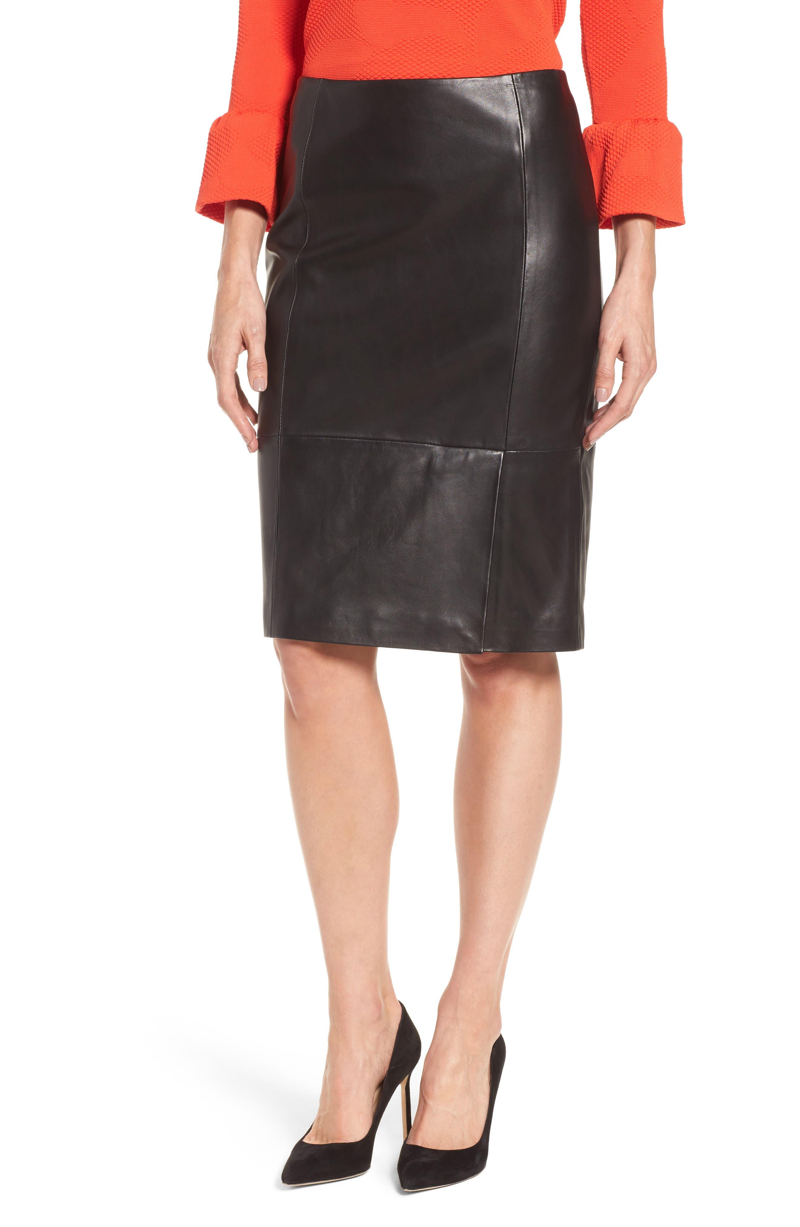 Sepama Leather Pencil Skirt,                             Main thumbnail 1, color,                             001
