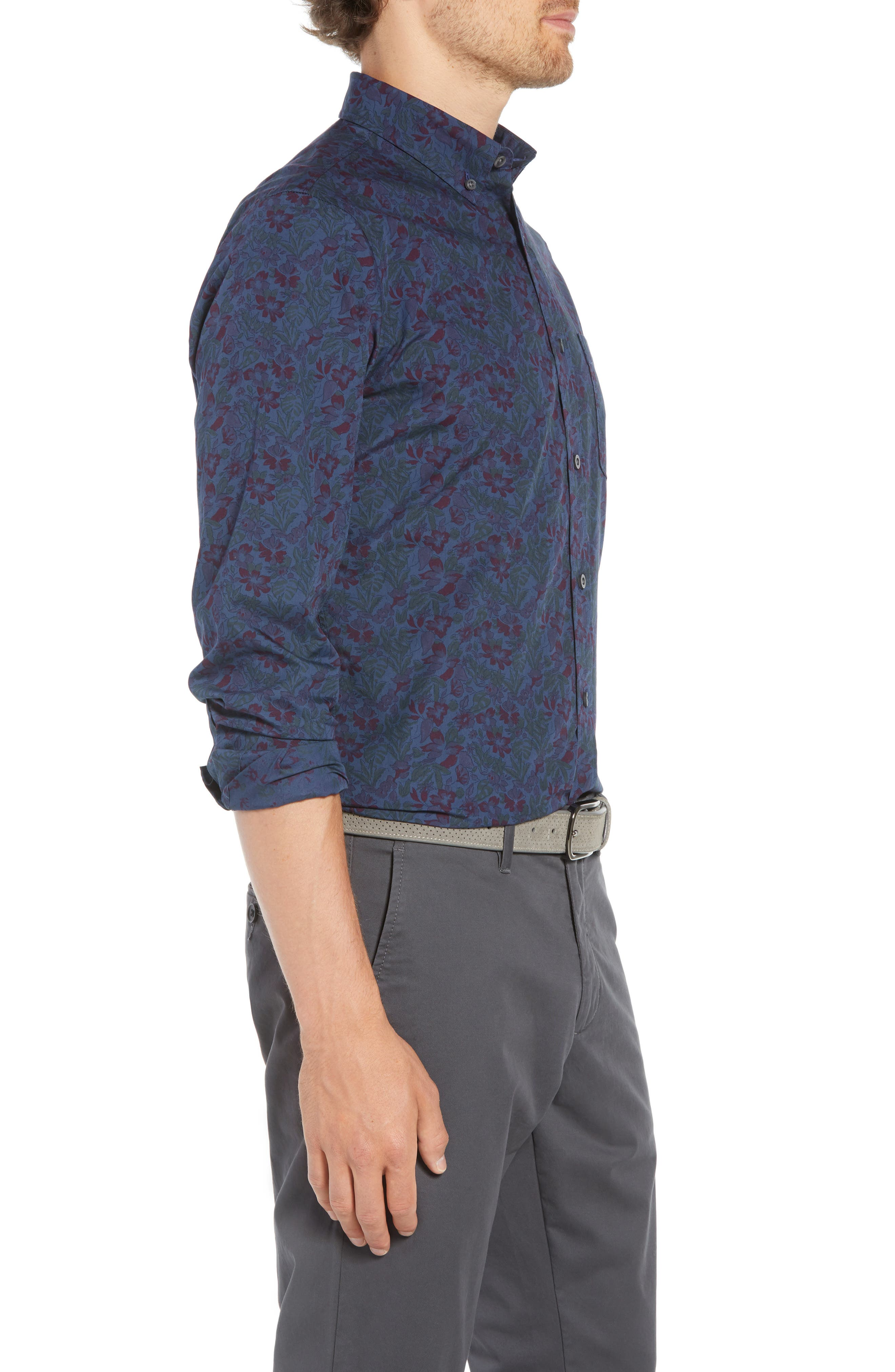 Trim Fit Floral Print Sport Shirt,                             Alternate thumbnail 3, color,                             NAVY TROPICAL CHAMBRAY PRINT
