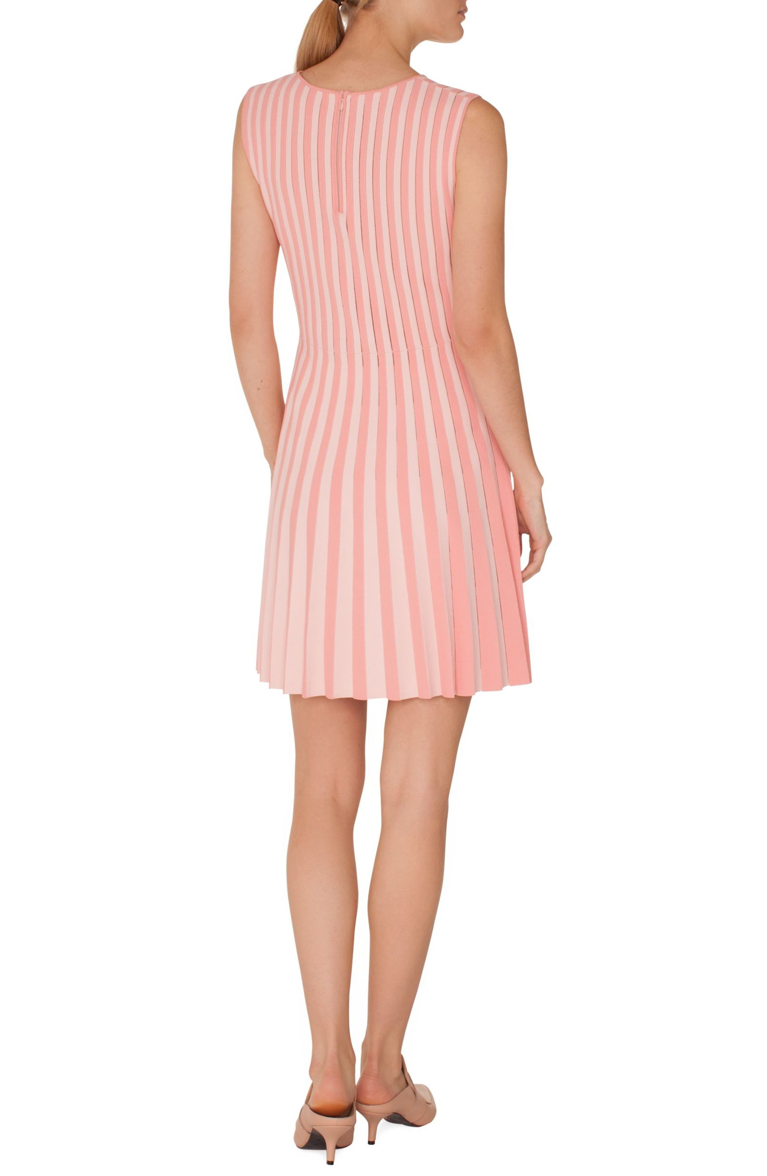 Stripe Pleated Dress,                             Alternate thumbnail 2, color,                             ROSE PINK-PEONY