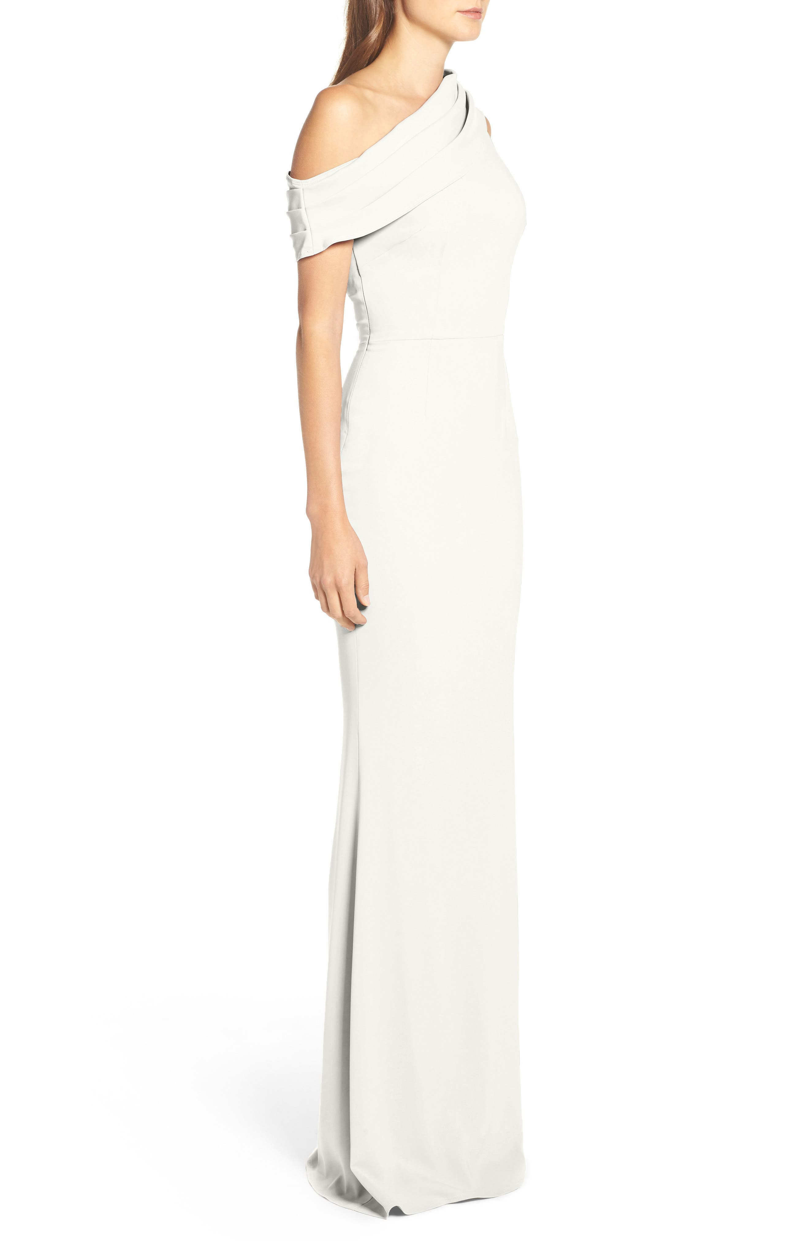Layla Pleat One-Shoulder Crepe Gown,                             Alternate thumbnail 4, color,                             IVORY