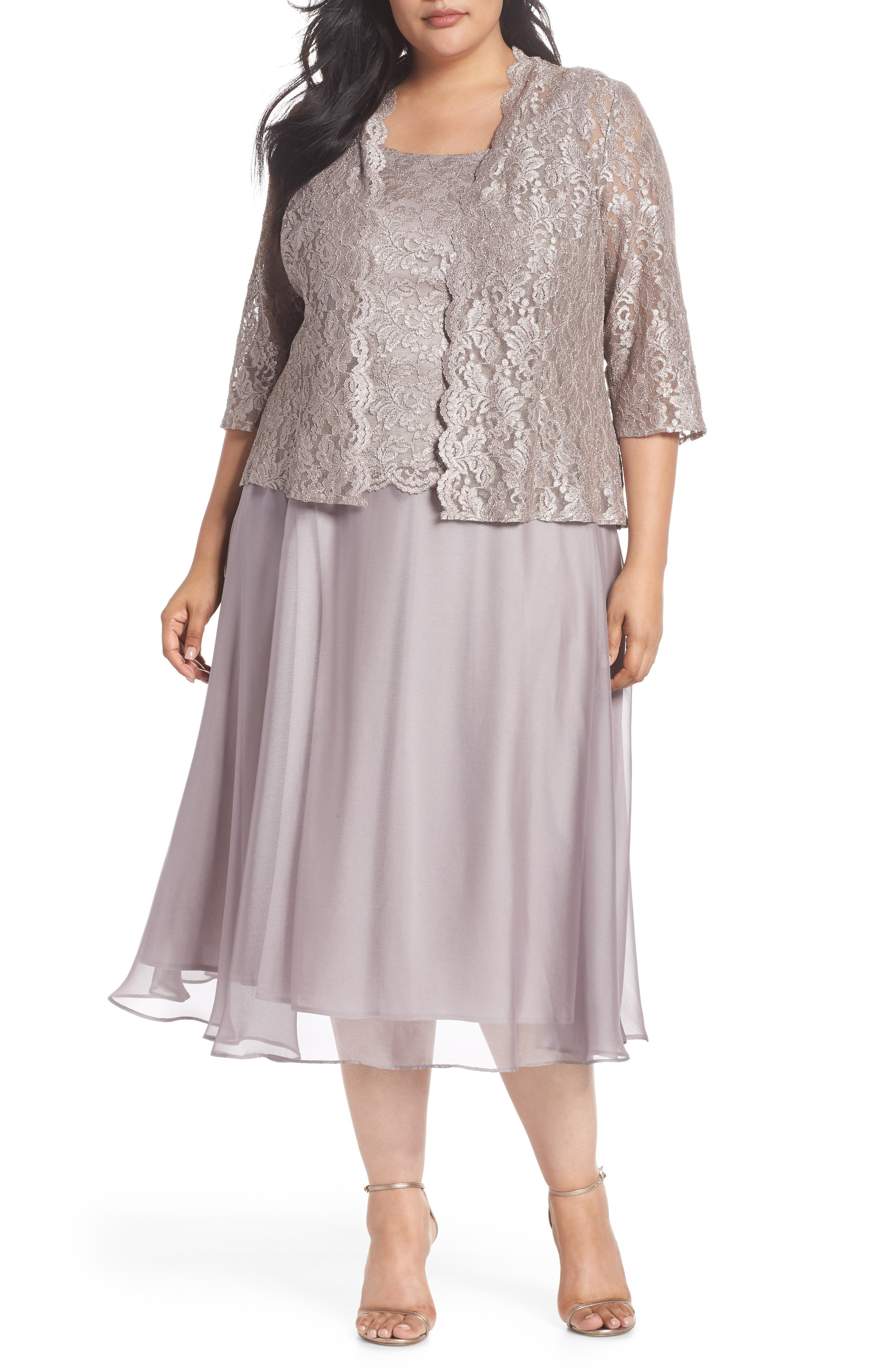 Lace Bodice Tea Length Dress with Jacket,                         Main,                         color, MINK