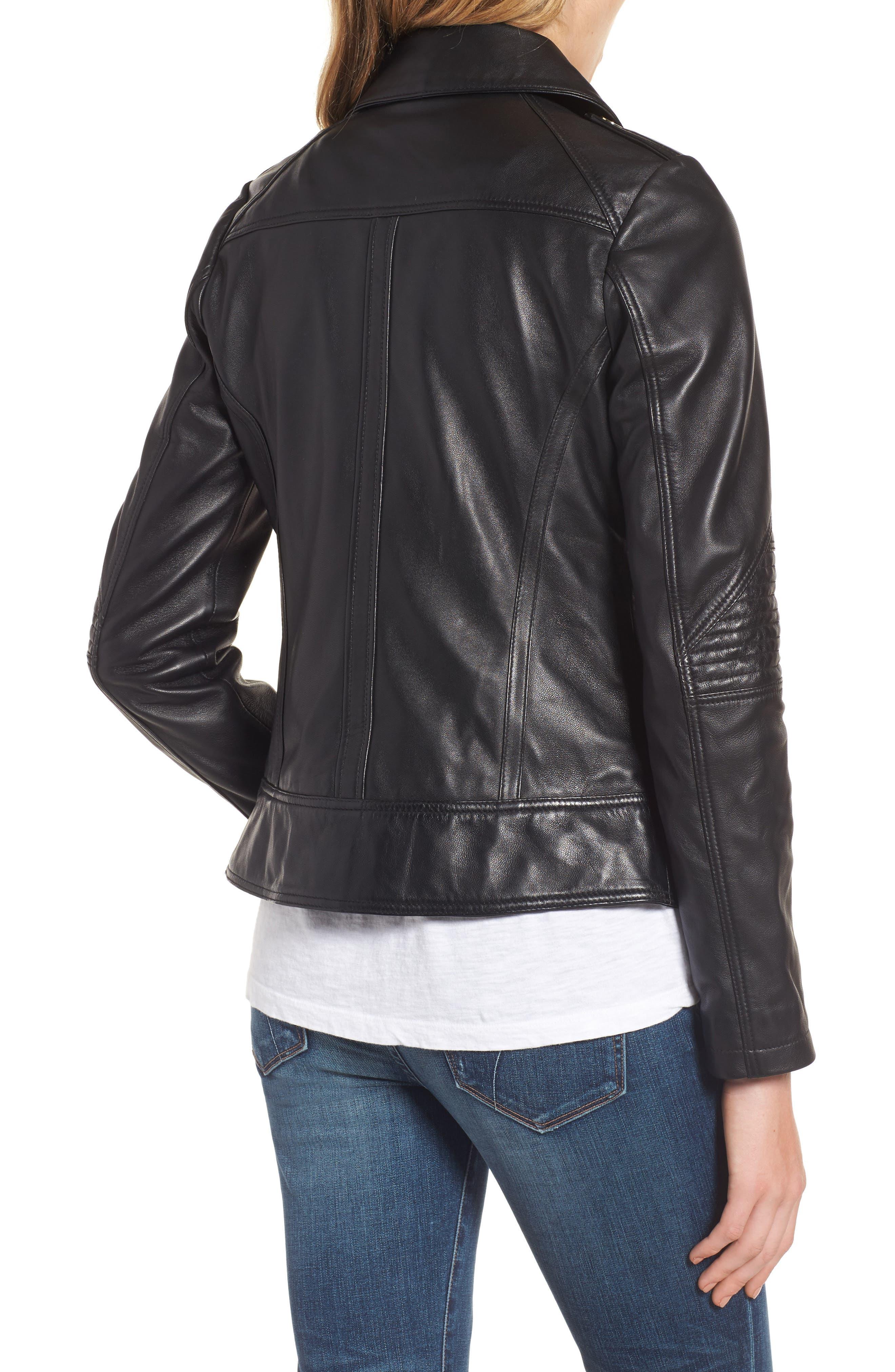 Leather Moto Jacket,                             Alternate thumbnail 3, color,