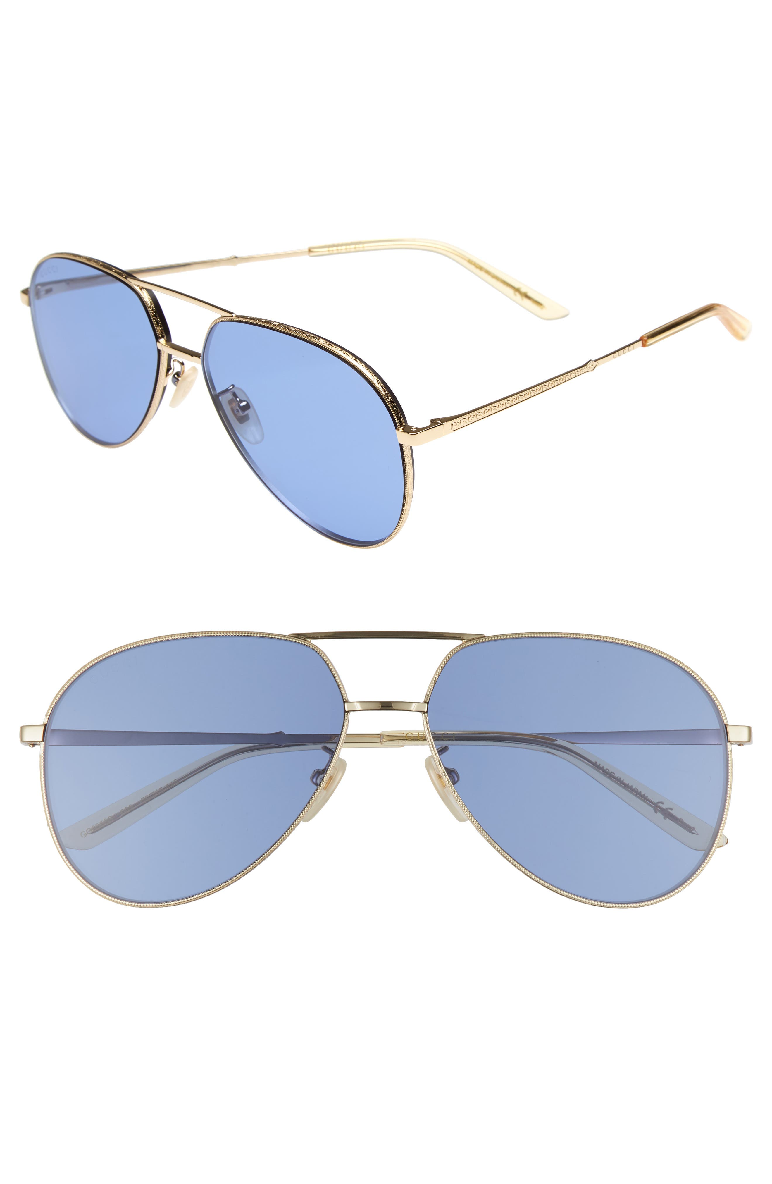 59mm Aviator Sunglasses,                             Main thumbnail 1, color,                             GOLD/ YELLOW