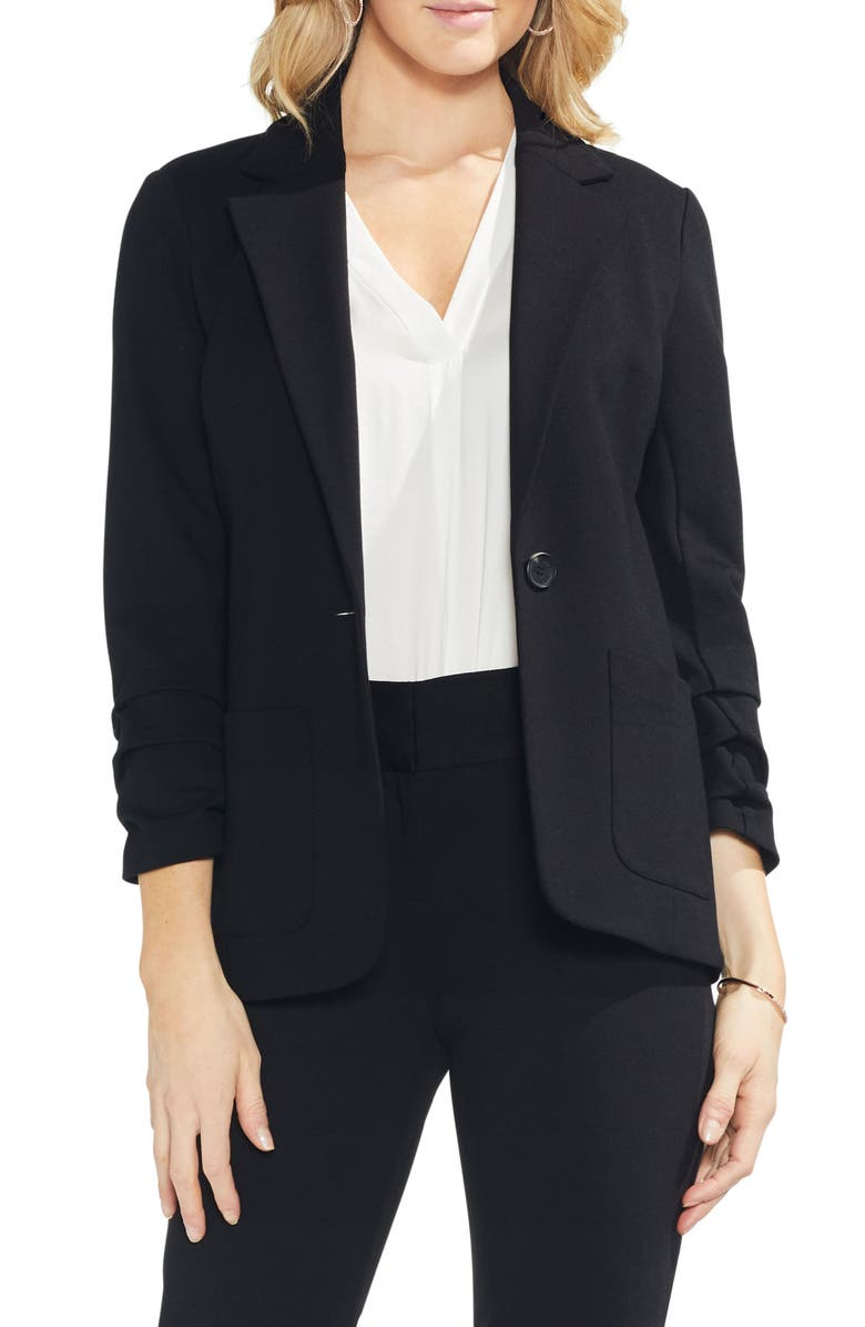 Vince Camuto Petite Ruched-sleeve Ponte-knit Blazer In Rich Black