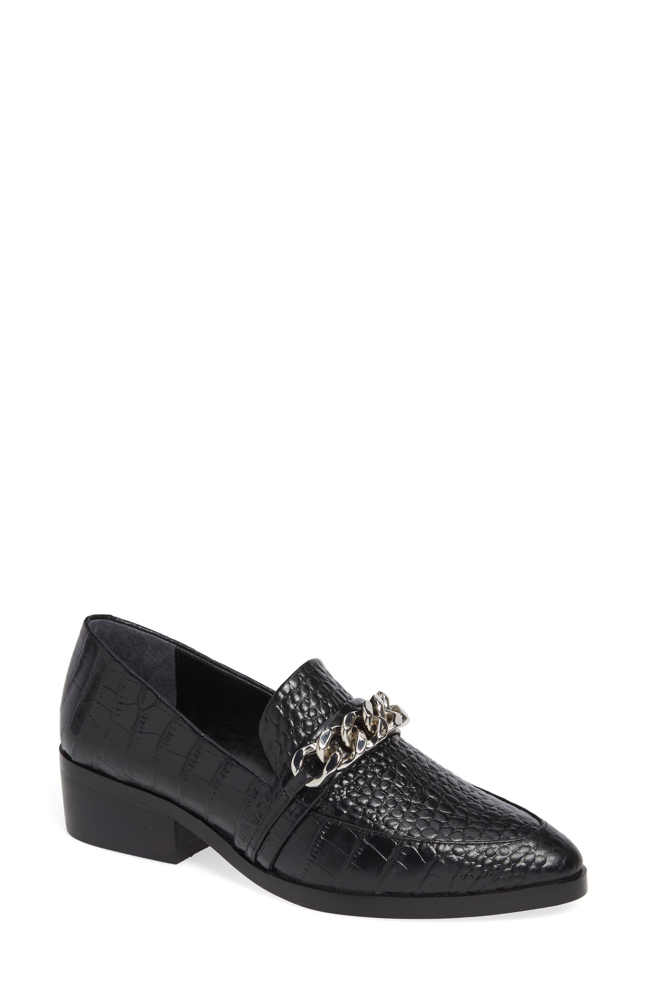 Molly Loafer,                             Main thumbnail 1, color,                             BLACK CROC LEATHER
