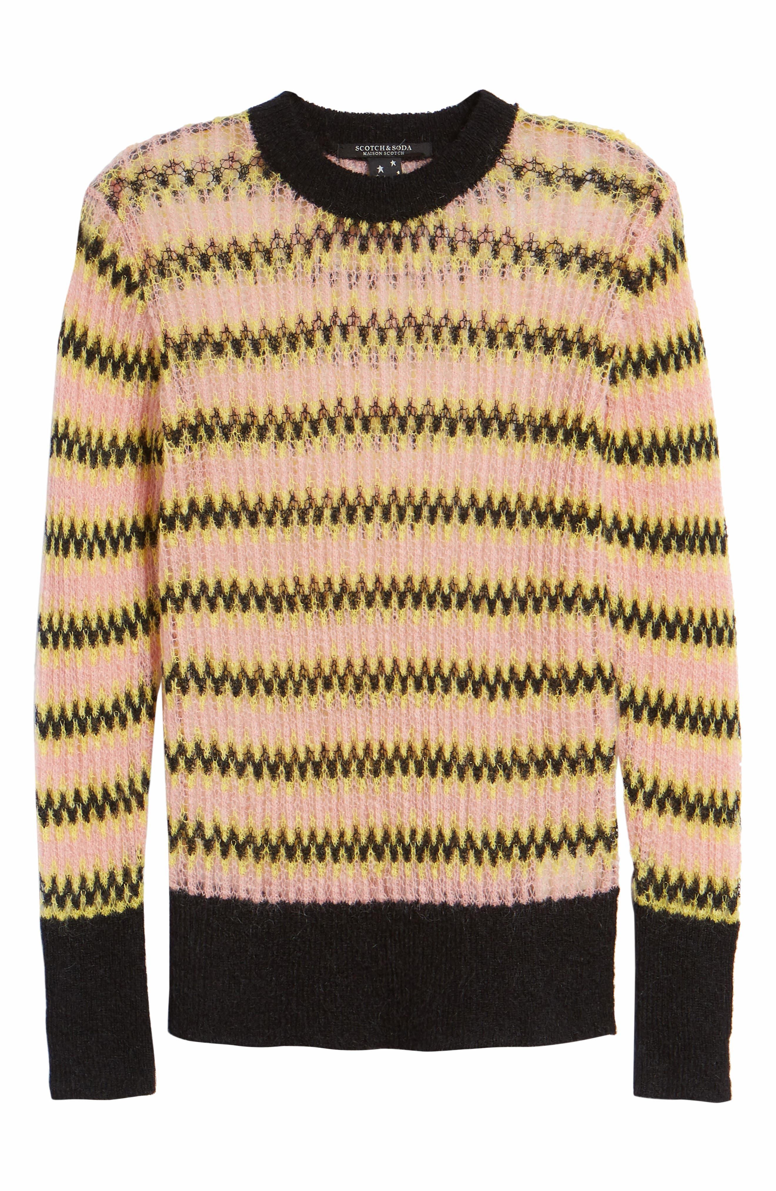 Zig Zag Wool Blend Sweater,                             Alternate thumbnail 6, color,                             MULTI PINK YELLOW ZIGZAG PRINT