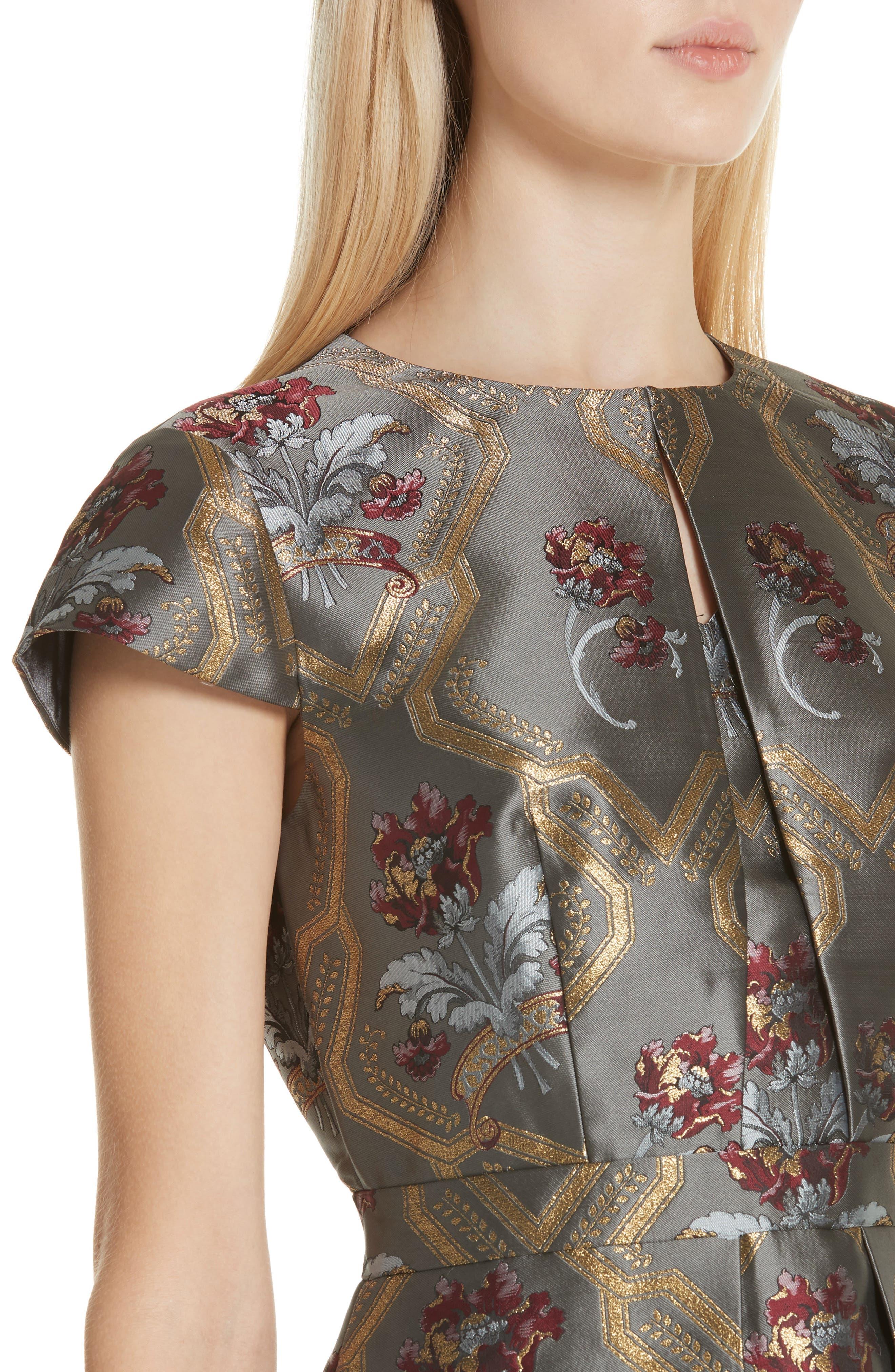 TED BAKER LONDON,                             Ice Palace Metallic Detail Skater Dress,                             Alternate thumbnail 4, color,                             020