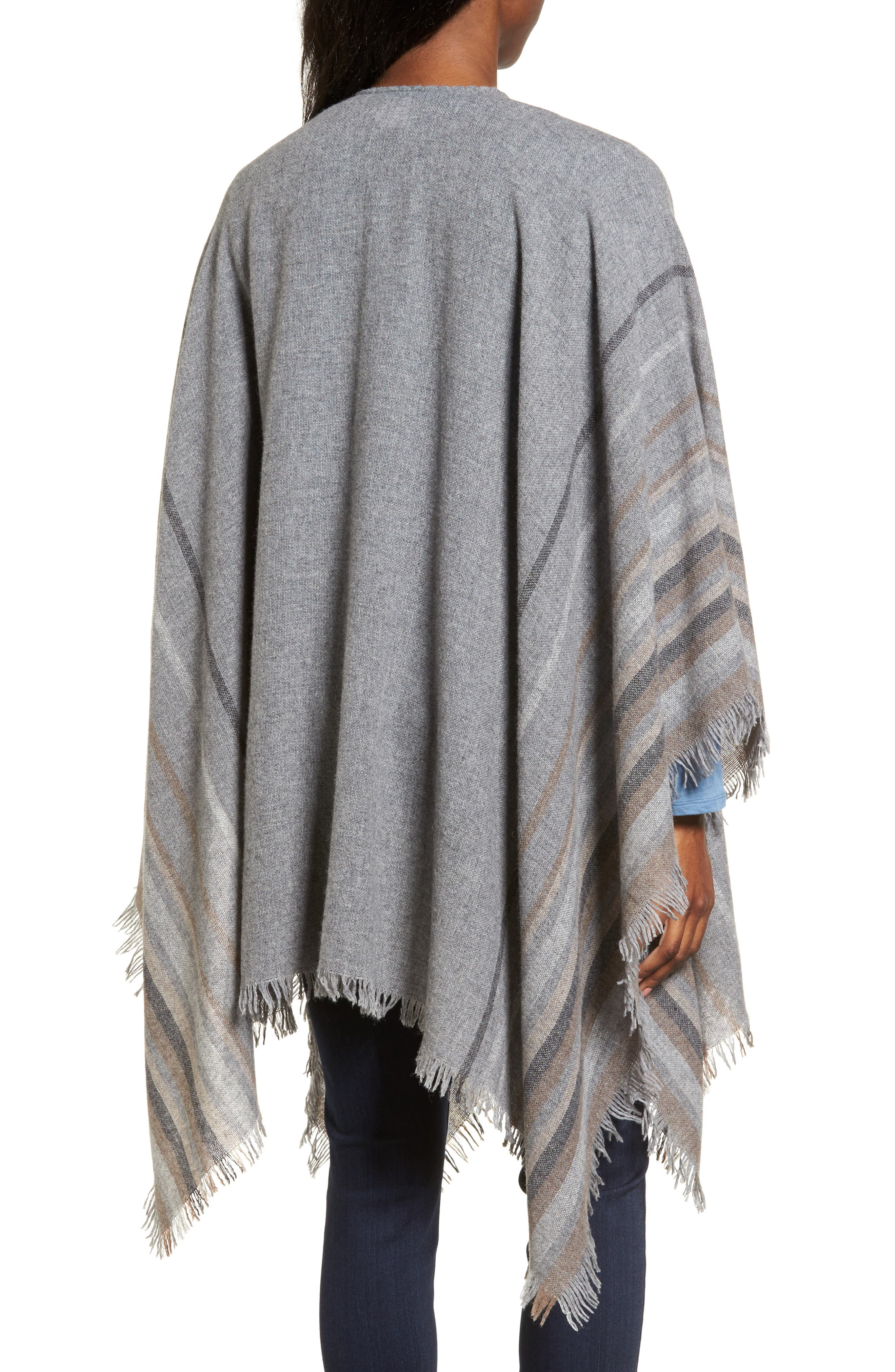 Stripe Wool Blend Poncho Wrap,                             Alternate thumbnail 2, color,                             030