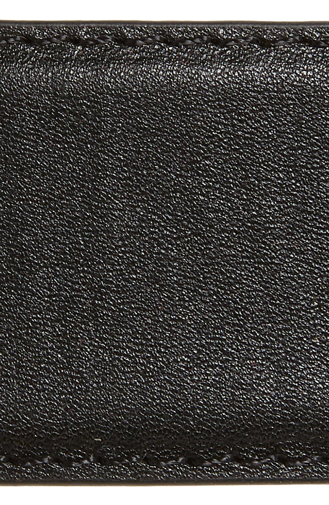 Double Buckle Leather Belt,                             Alternate thumbnail 3, color,                             BLACK